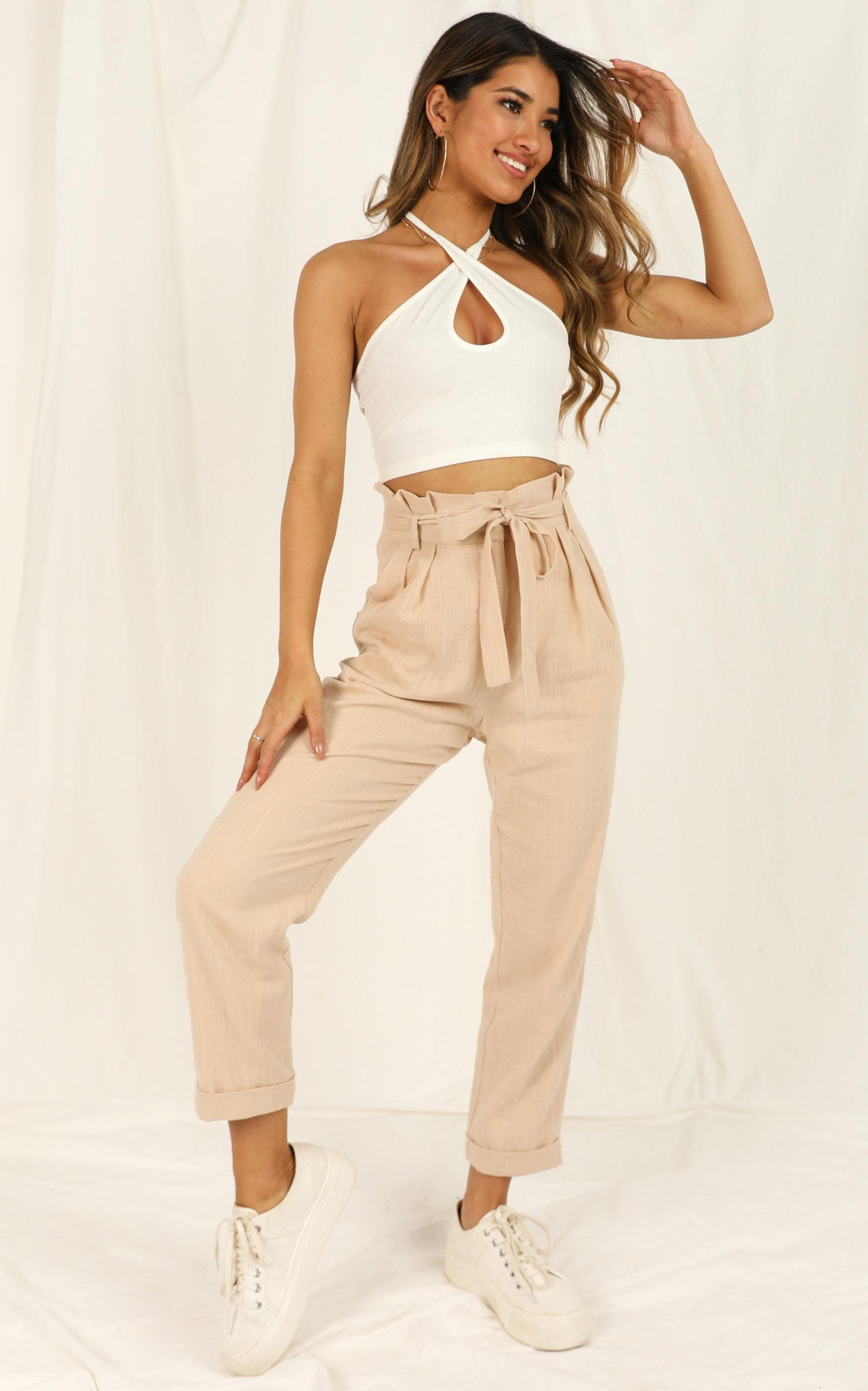 Not Your Business pants in beige linen look - 20 (XXXXL), Beige, hi-res image number null