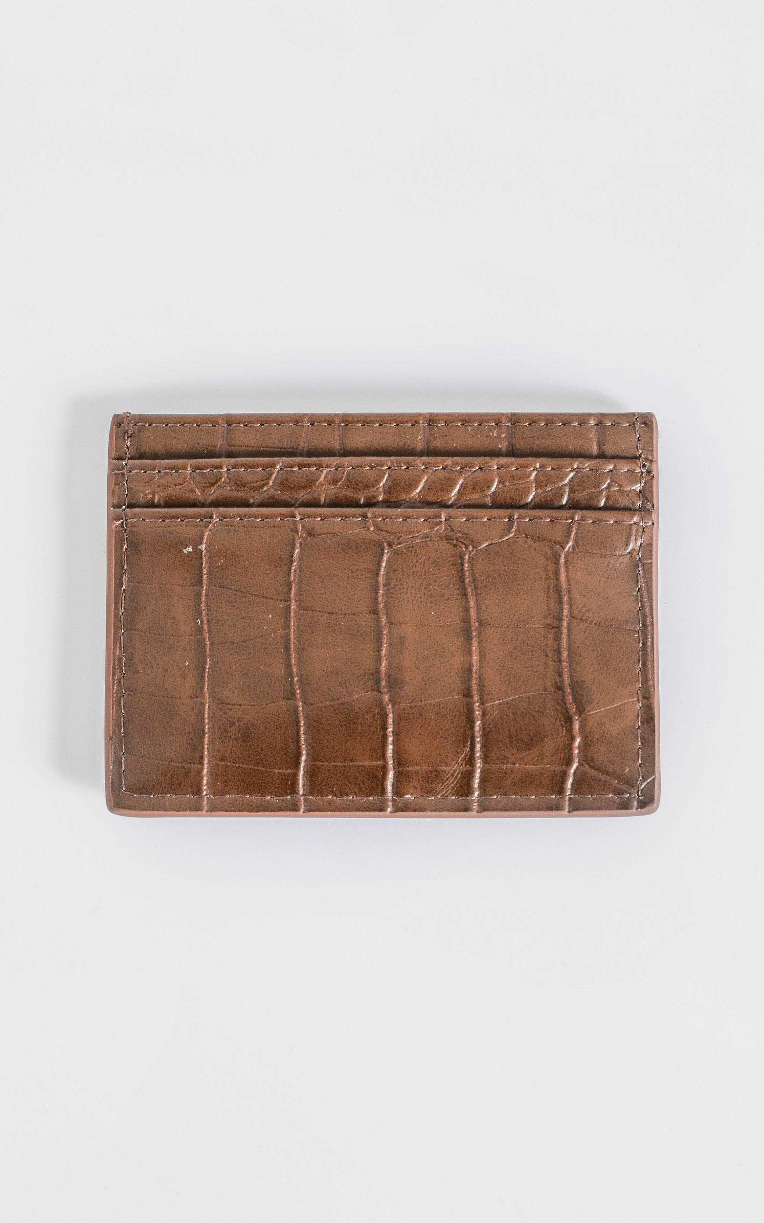 Peta and Jain - Izzy Card Holder in Chocolate Croc, Brown, hi-res image number null