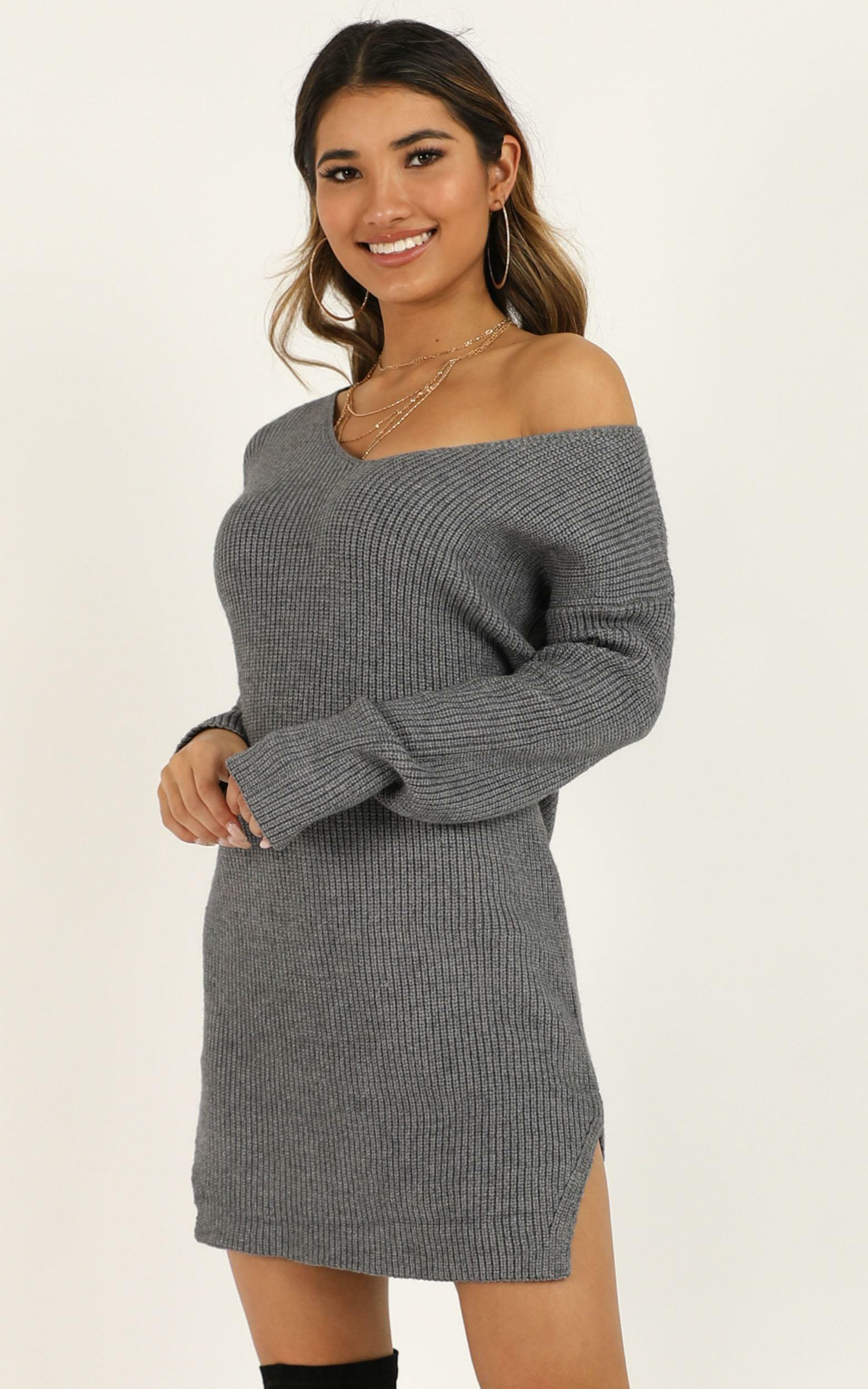 On The Floor knit dress in charcoal - M/L, Grey, hi-res image number null