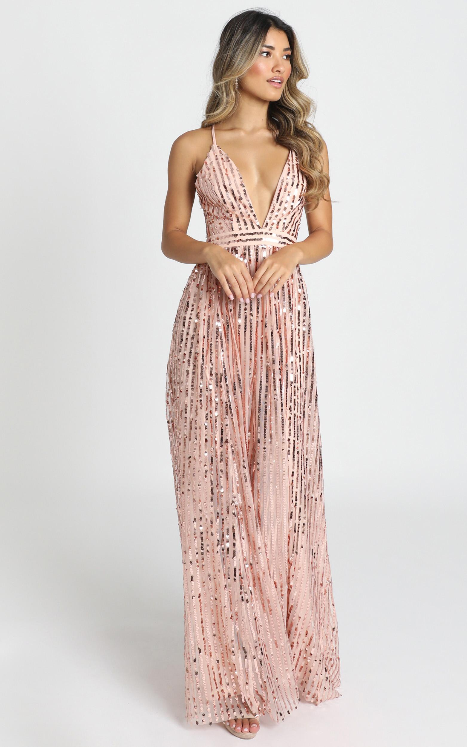 Youre The One Maxi Dress in rose gold sequin- 12 (L), Rose Gold, hi-res image number null