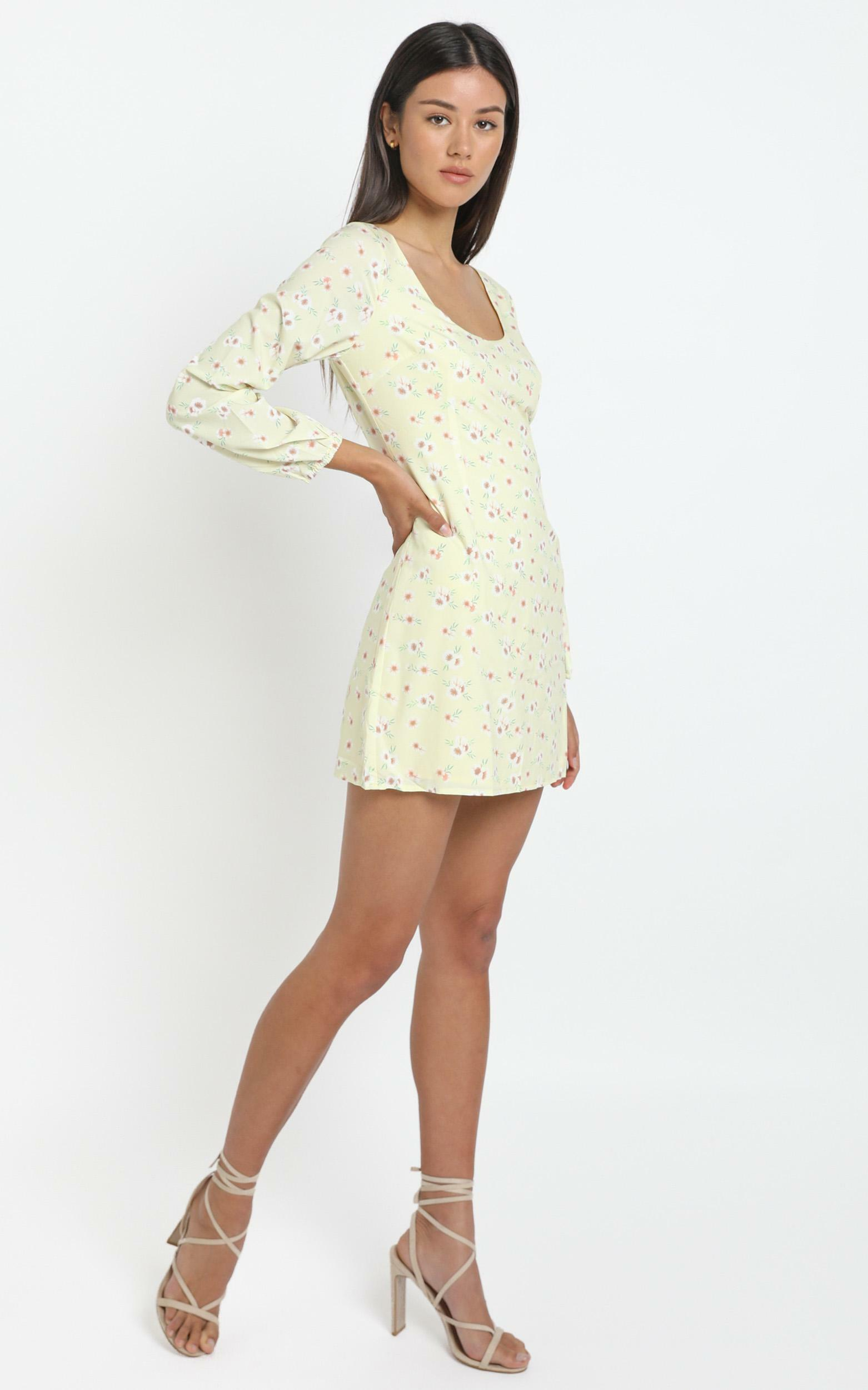 Desert Romance Mini Dress in Yellow Floral - 14 (XL), Yellow, hi-res image number null