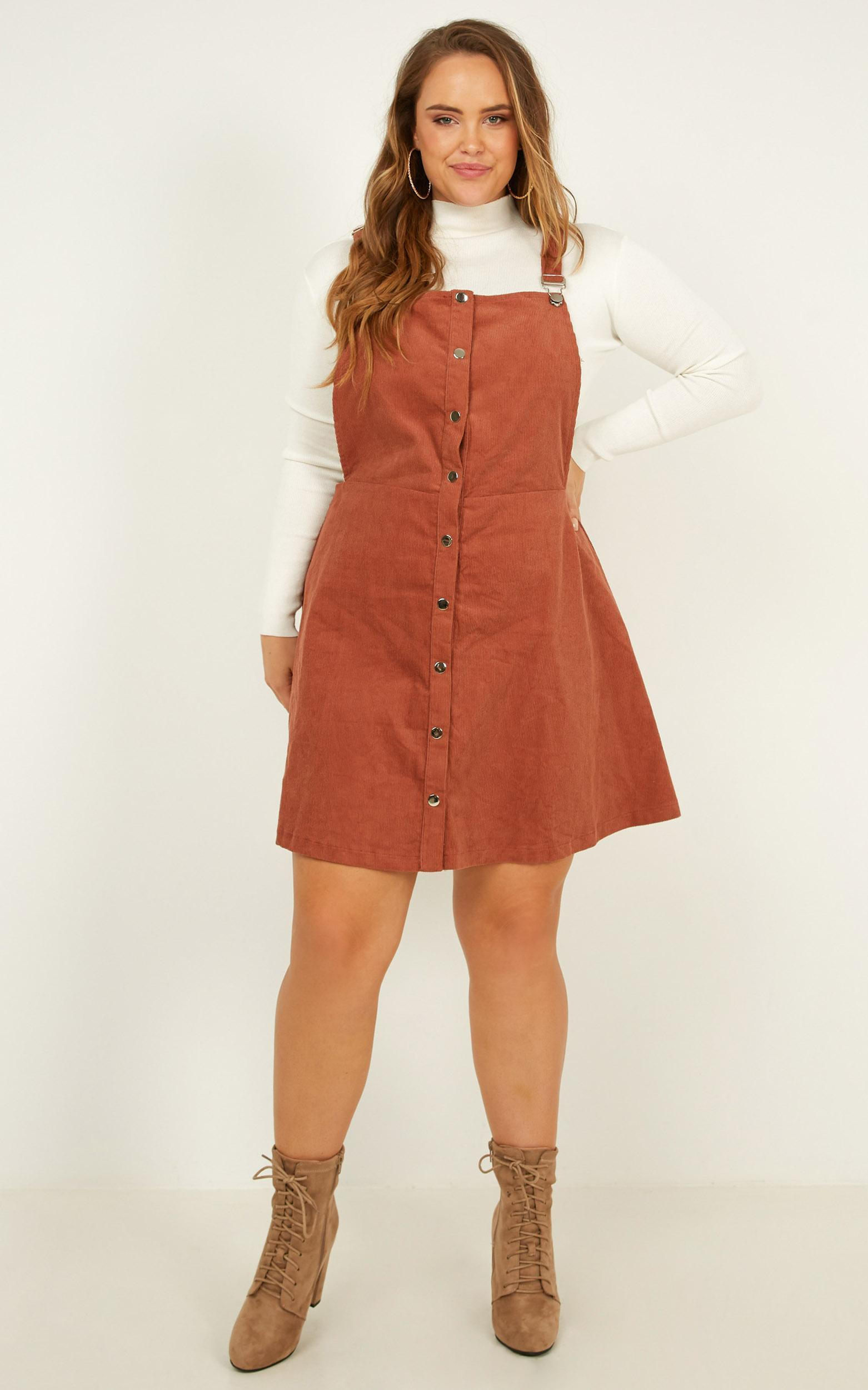 Not for me Pinafore dress in rust corduroy - 20 (XXXXL), Rust, hi-res image number null