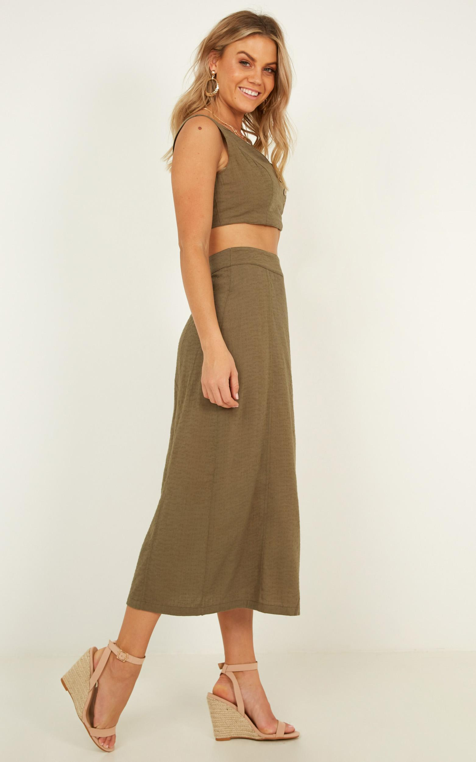 Words Of Wisdom two piece set in khaki linen look - 12 (L), Khaki, hi-res image number null