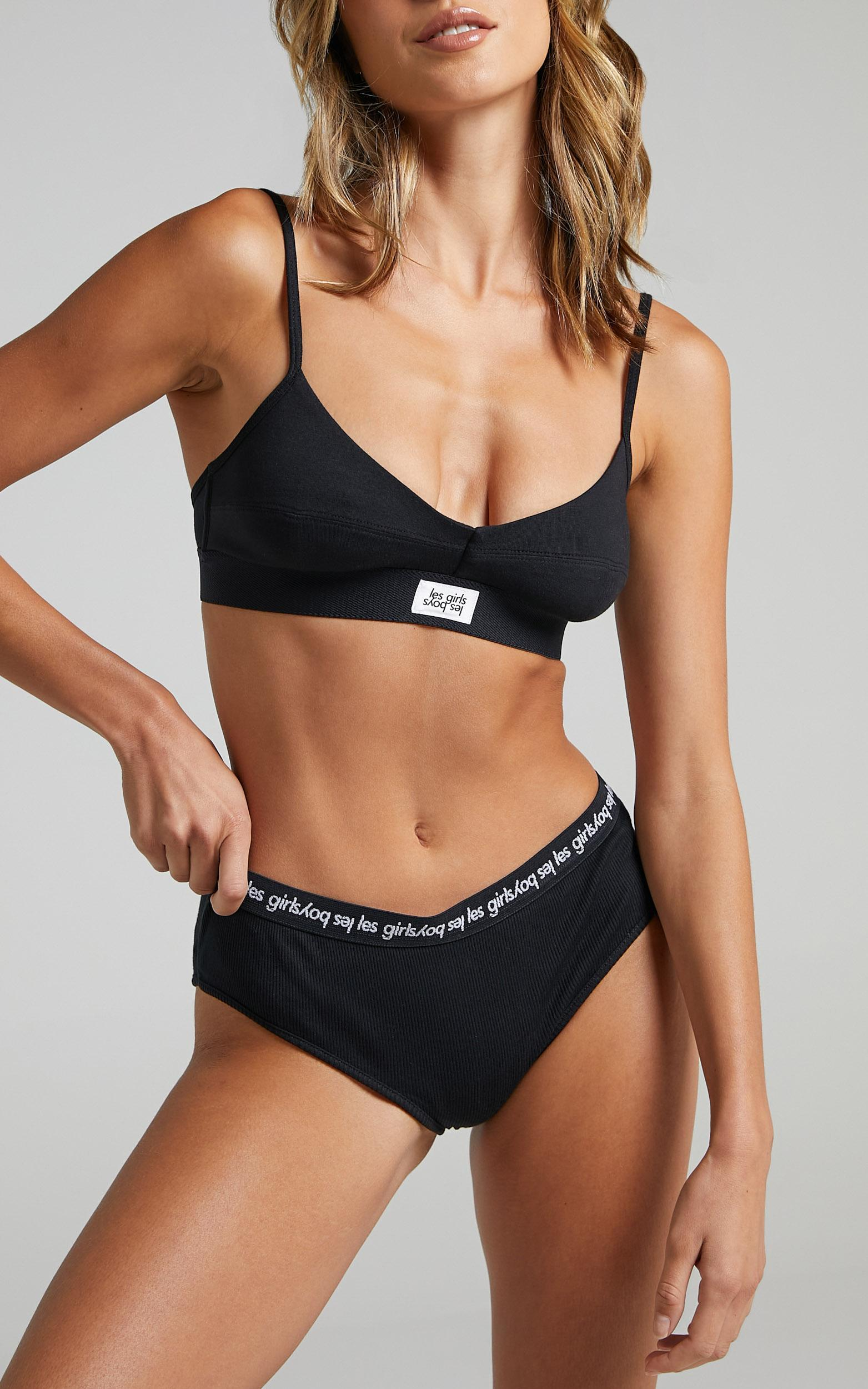 Les Girls Les Boys - Rib Jersey Branded Brief in Black - XS, BLK1, hi-res image number null