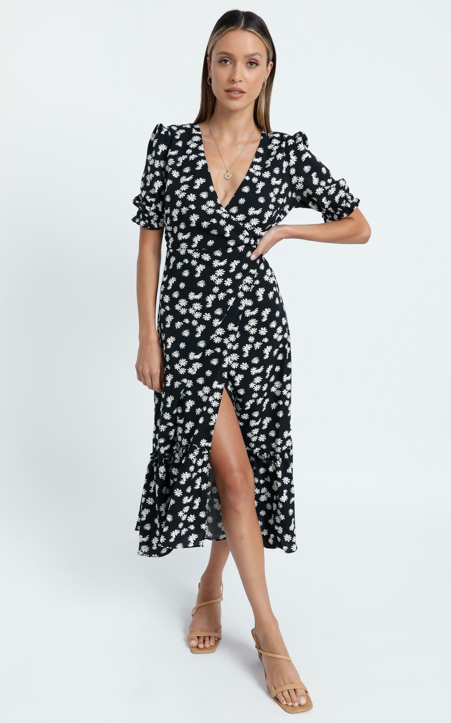 Washington Dress in Black Floral - 6 (XS), BLK13, hi-res image number null