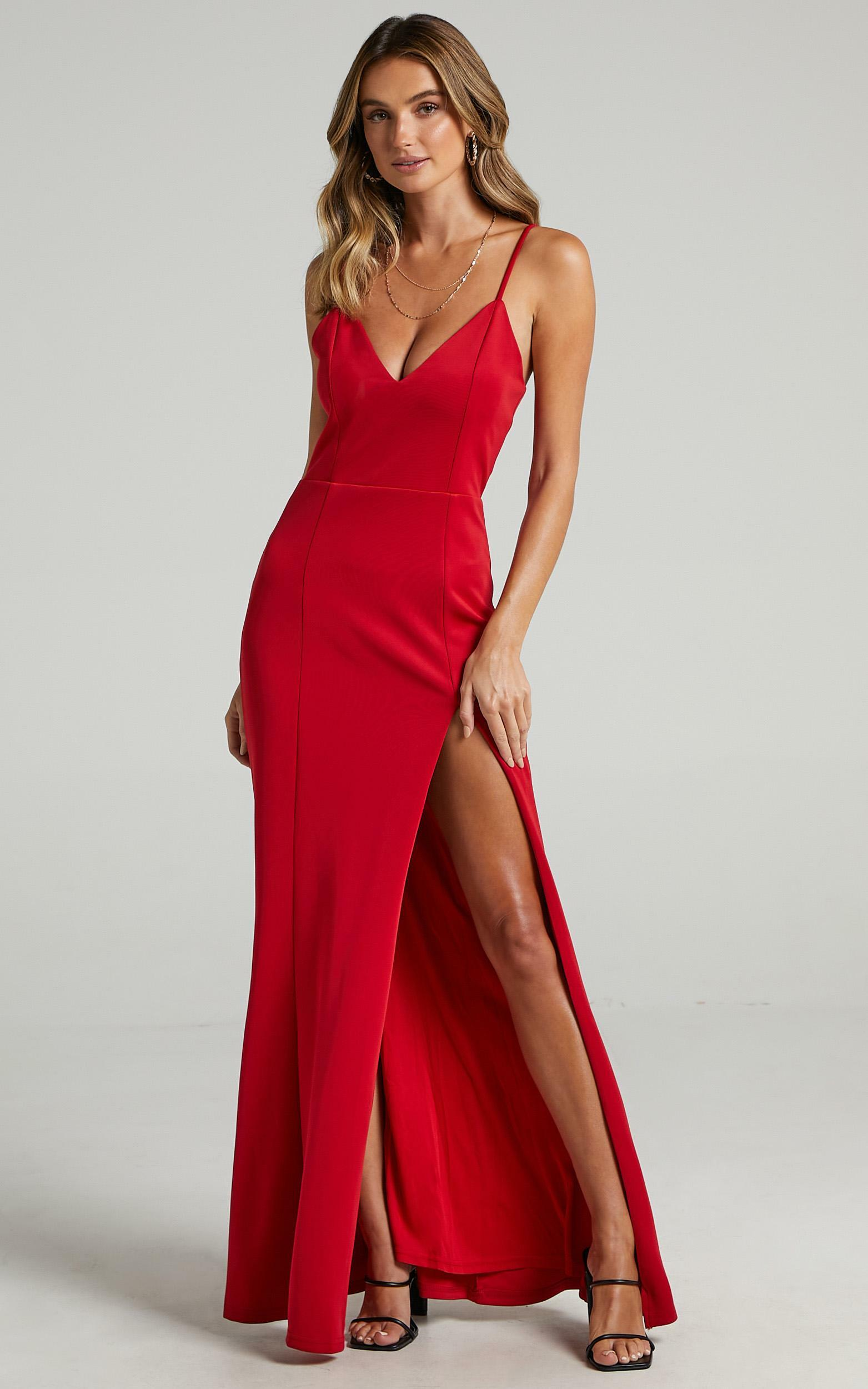 Dare To Dream Split Maxi Dress in Red - 20, RED8, hi-res image number null
