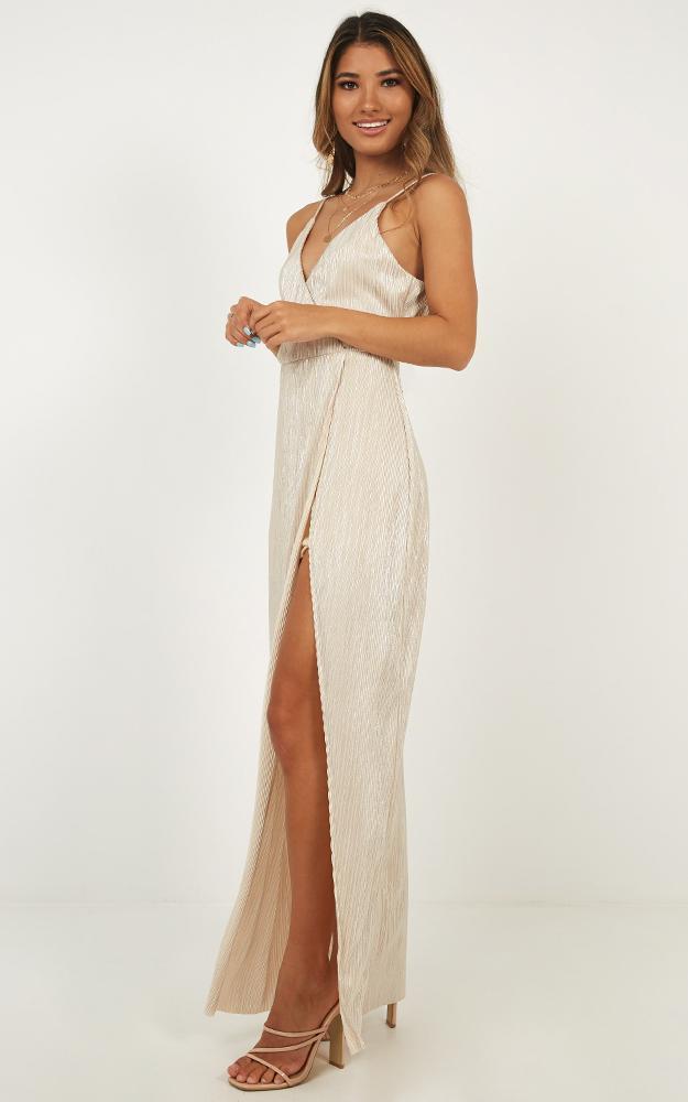 Afterglow dress in nude metallic - 14 (XL), Beige, hi-res image number null