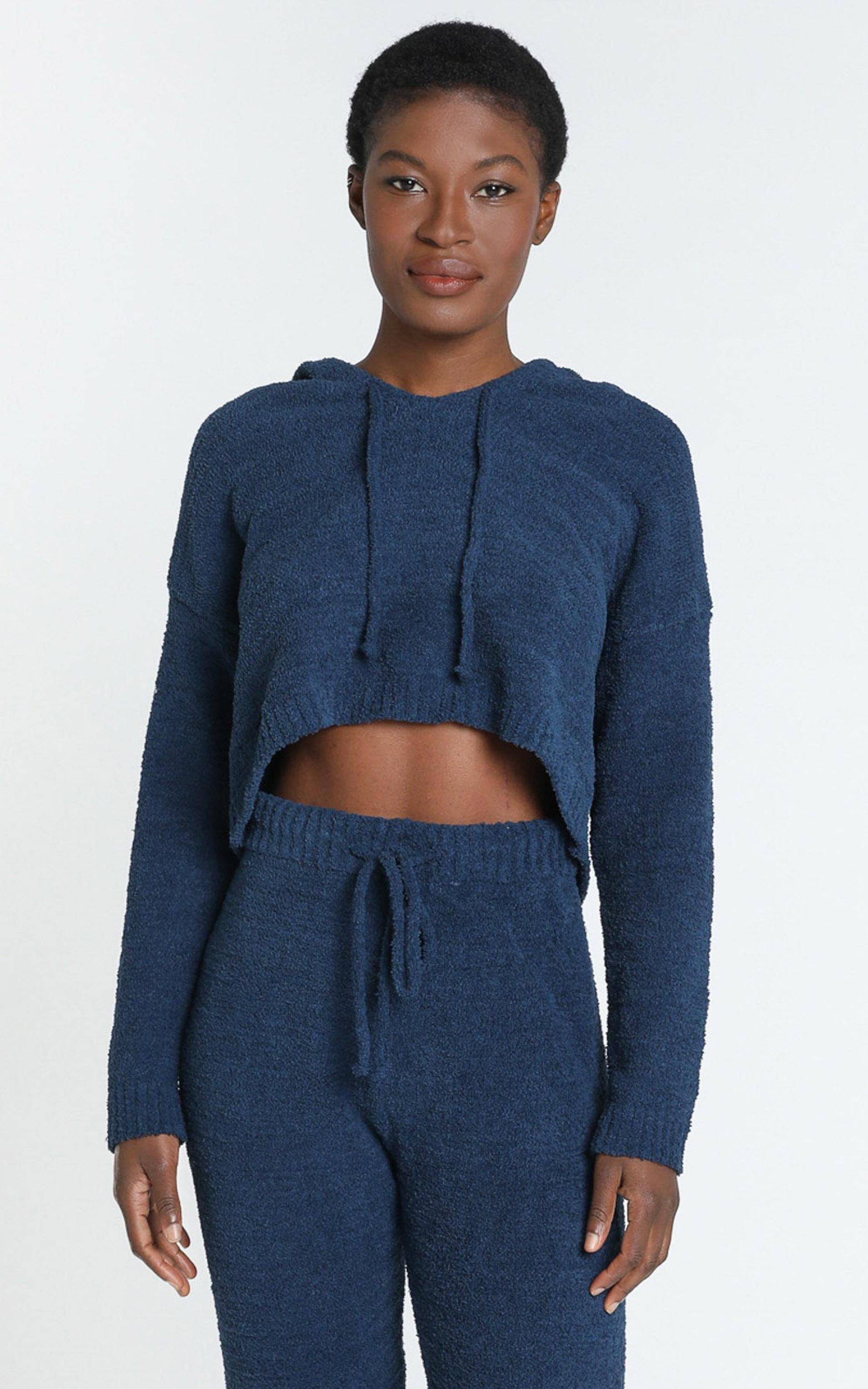 Adelie Super Soft Knit Hoody in Navy - S, Navy, hi-res image number null