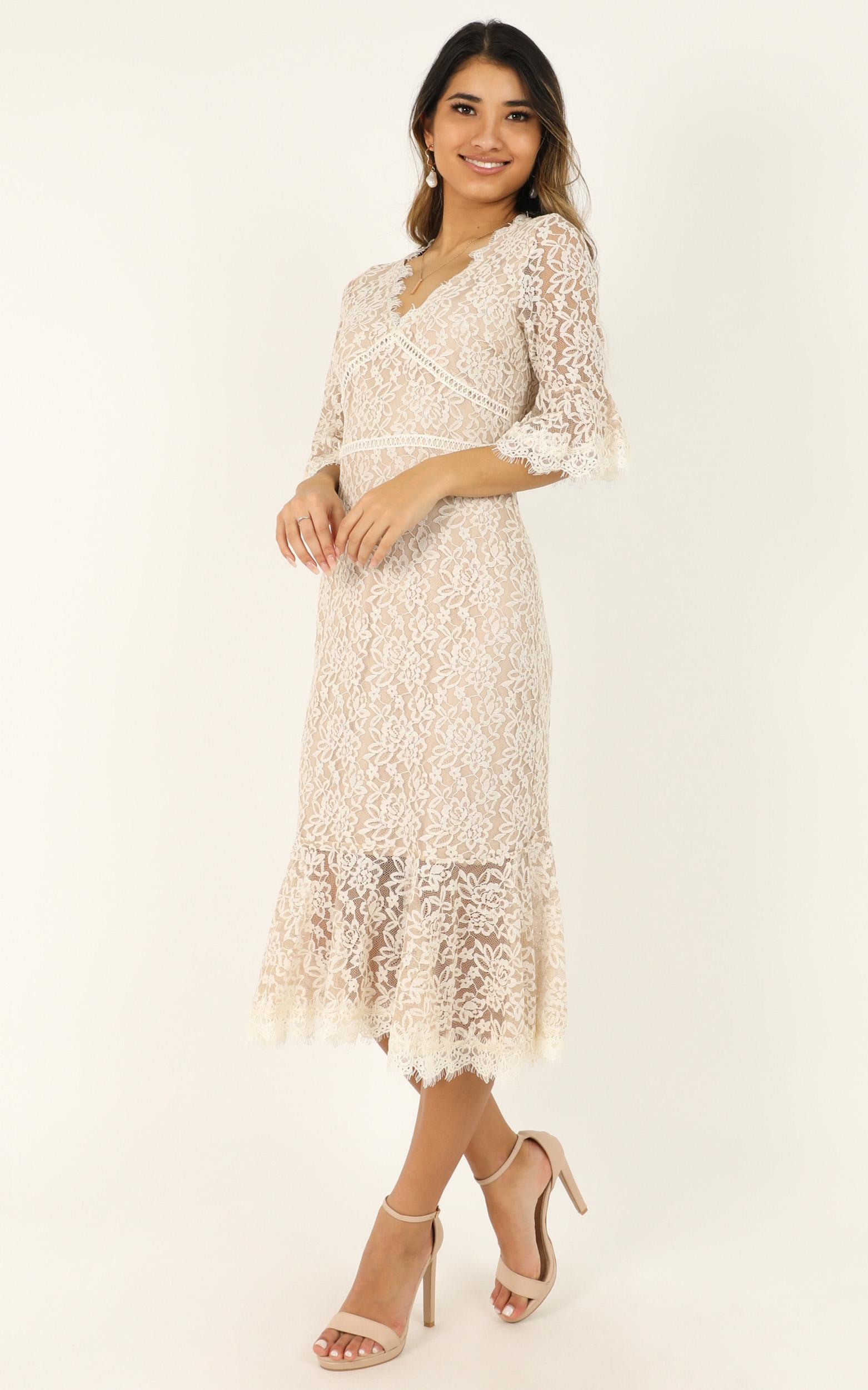 Hold My Pearls dress in nude lace - 12 (L), Beige, hi-res image number null
