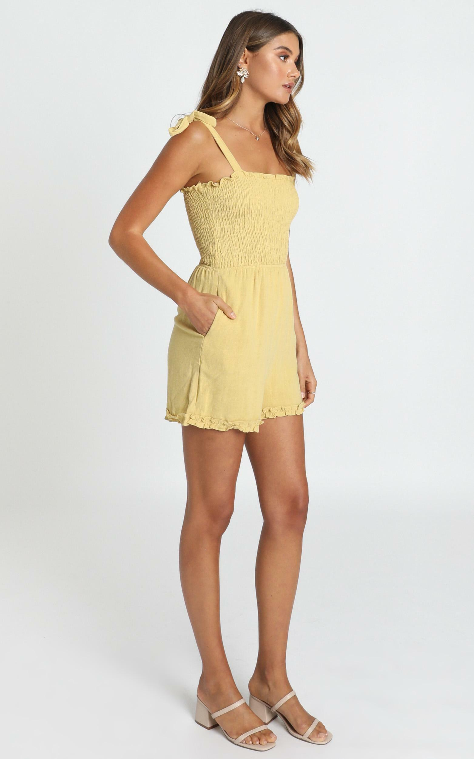 Jacqueline Shirred Playsuit in mustard - 12 (L), Mustard, hi-res image number null