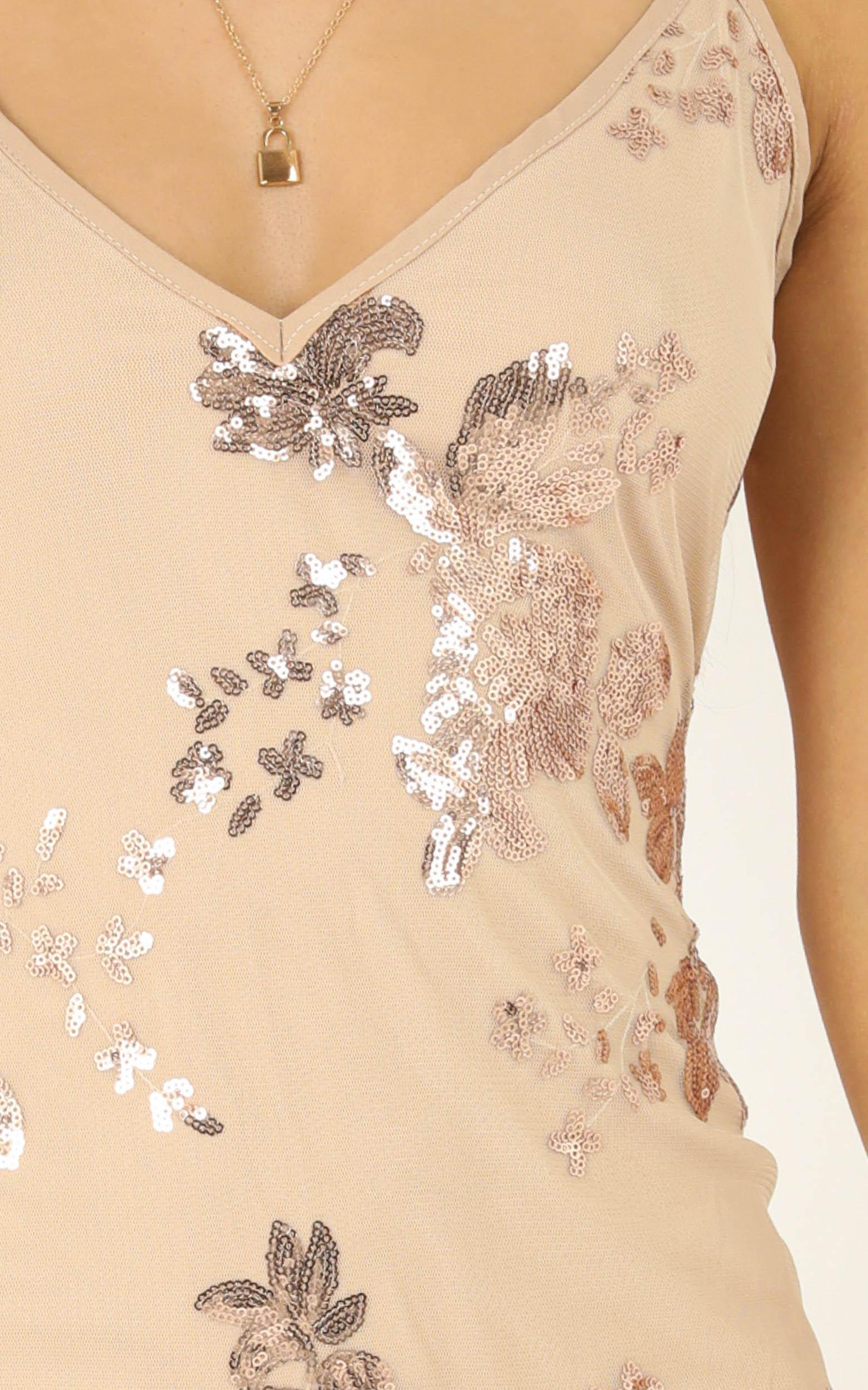 Carrying Your Love Dress in rose gold sequin - 16 (XXL), Rose Gold, hi-res image number null
