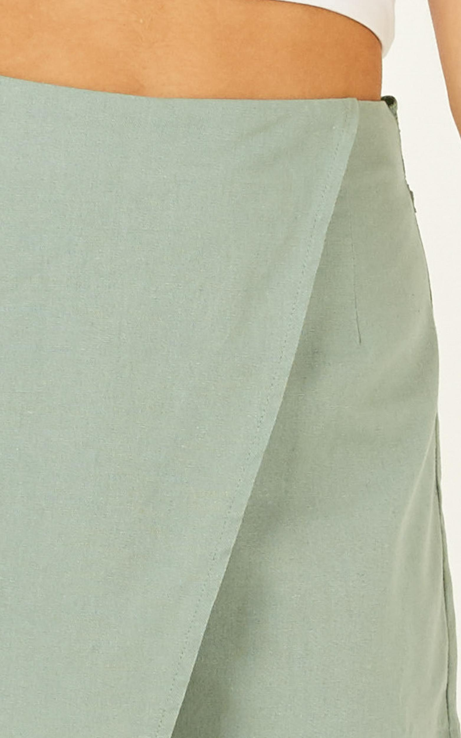 Meet Your Maker Skort in sage linen look - 14 (XL), Sage, hi-res image number null
