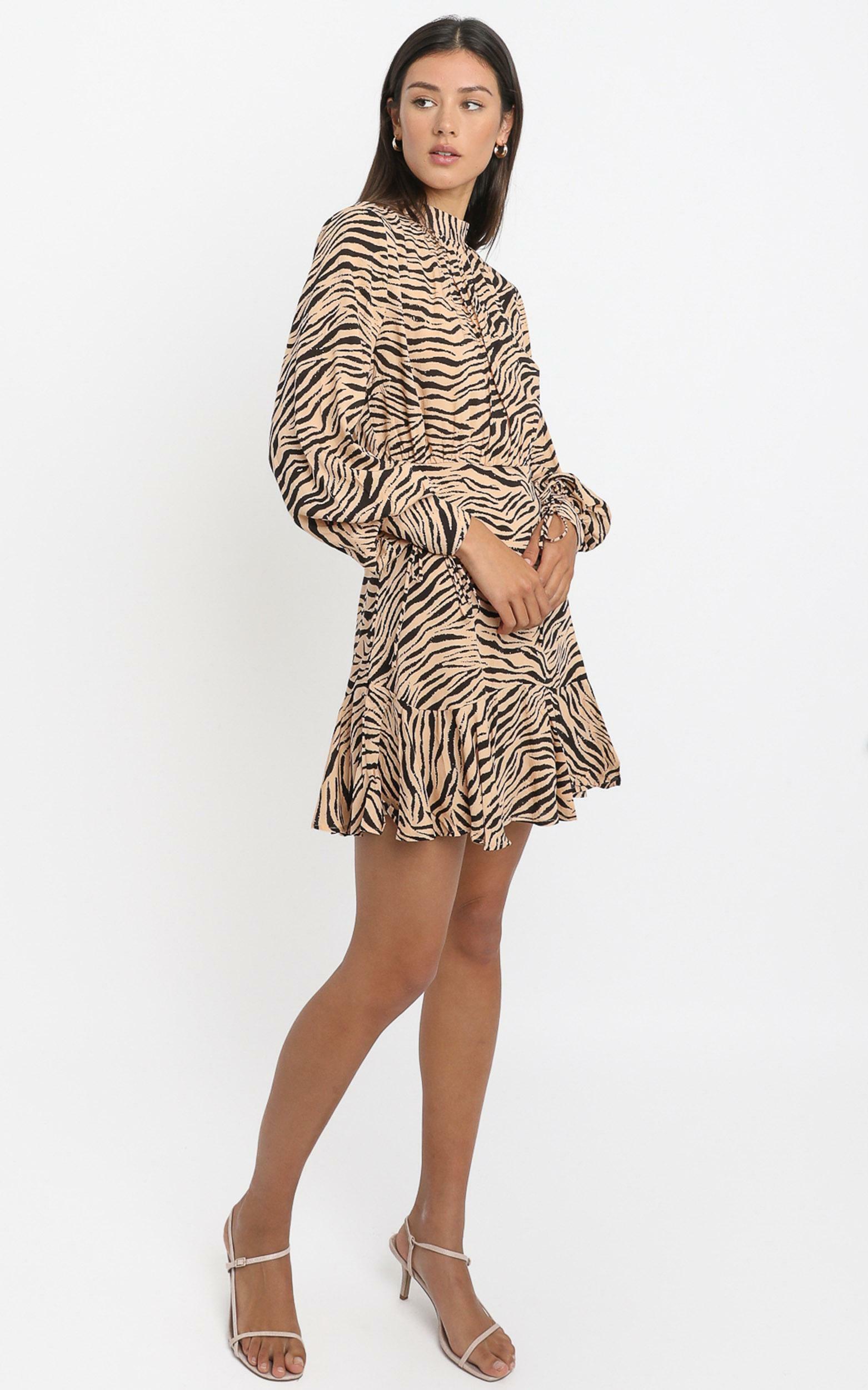 Elias Dress in Tan Zebra - 6 (XS), Tan, hi-res image number null