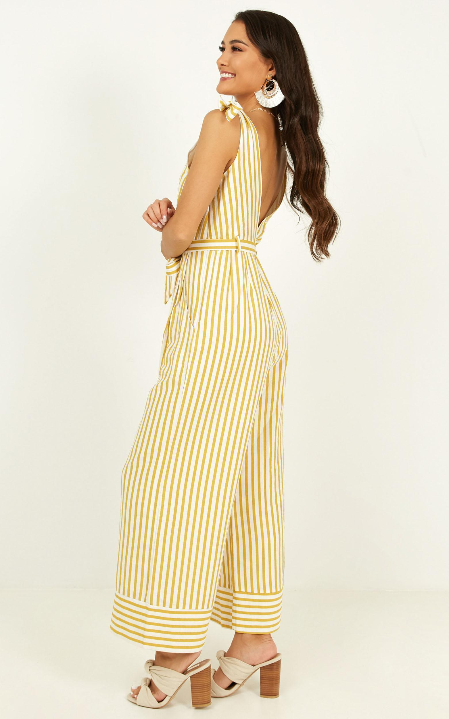Love Triangle jumpsuit in yellow stripe - 20 (XXXXL), Yellow, hi-res image number null