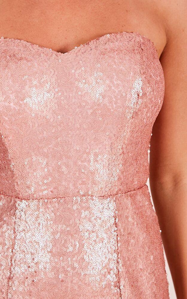 Shimmer Shimmer Maxi Dress in Rose Gold Sequin - 14 (XL), Rose Gold, hi-res image number null