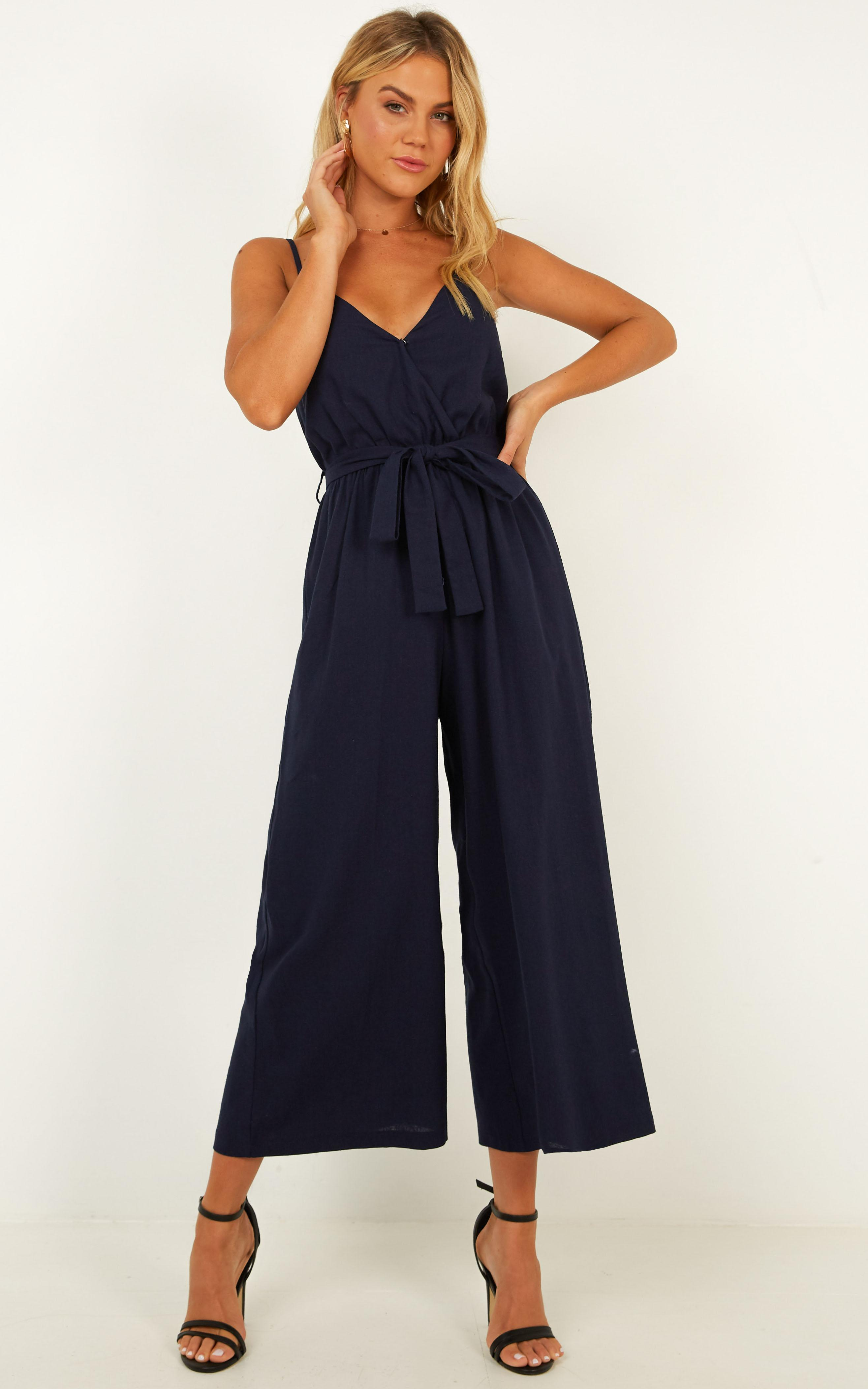 Not About You Jumpsuit In navy linen - 12 (L), Navy, hi-res image number null