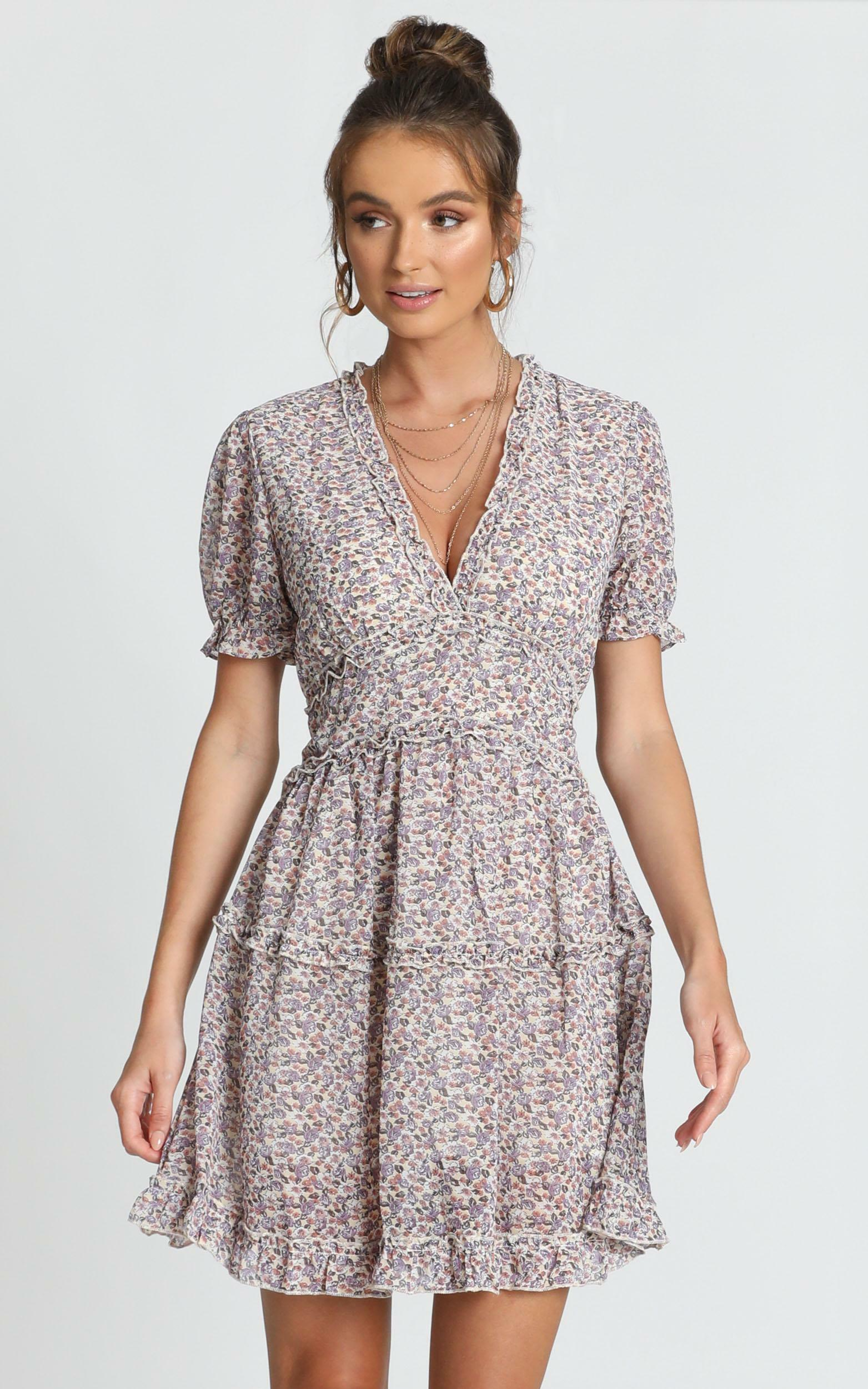 Losing My Marbles dress in lilac floral - 16 (XXL), Purple, hi-res image number null
