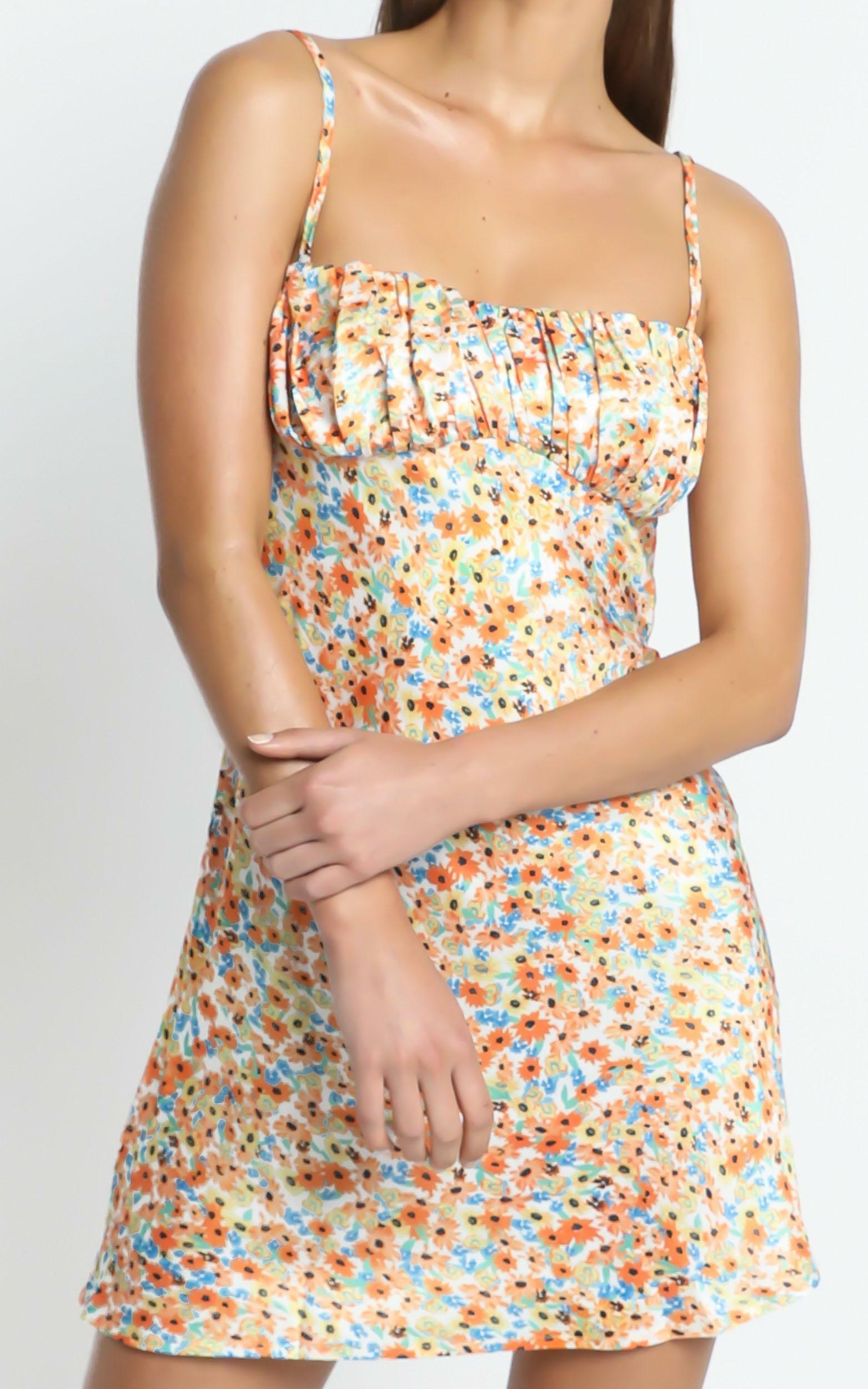 Devra Dress in Orange Floral - 08, ORG1, hi-res image number null