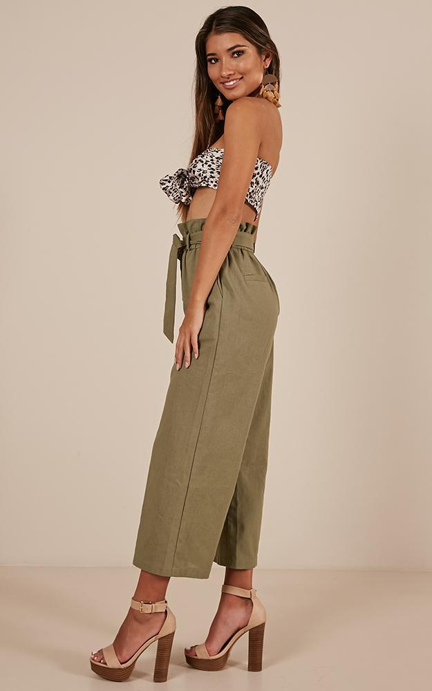 Kisses From Yesterday Pants in khaki Linen Look - 12 (L), Khaki, hi-res image number null