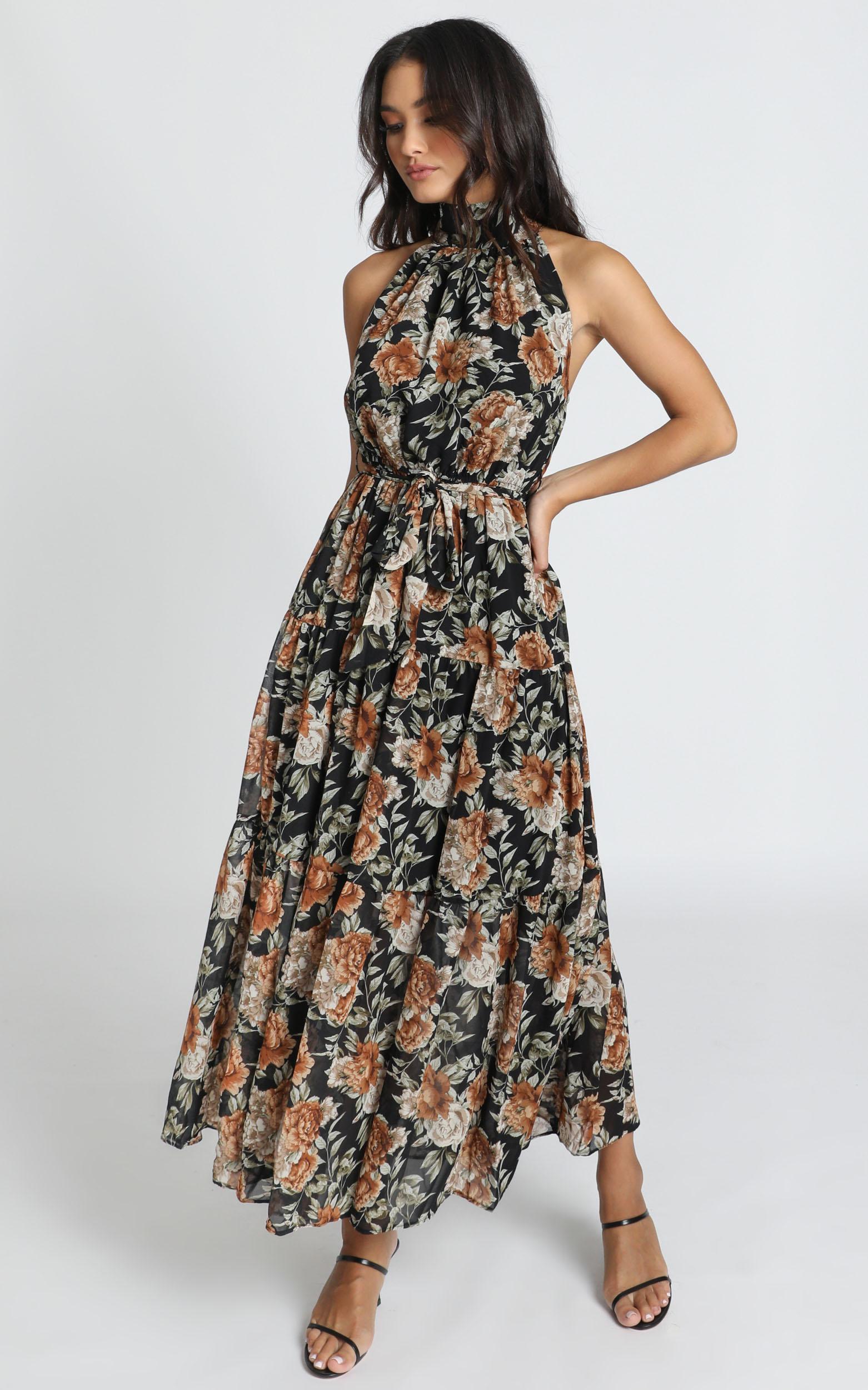 Cooling Power Maxi Dress in black floral - 14 (XL), Black, hi-res image number null
