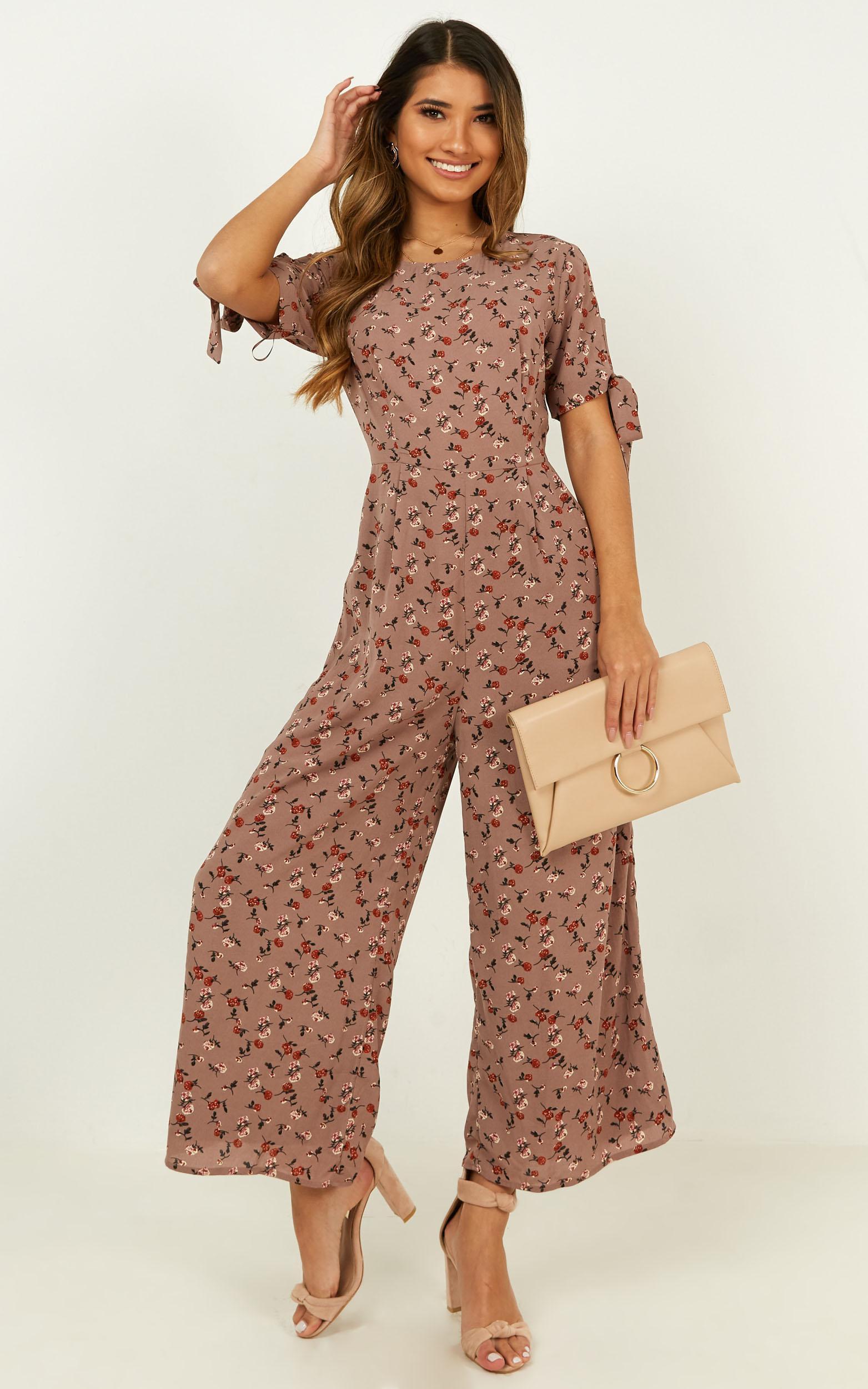 We Could Leave Jumpsuit in mocha floral - 20 (XXXXL), Mocha, hi-res image number null