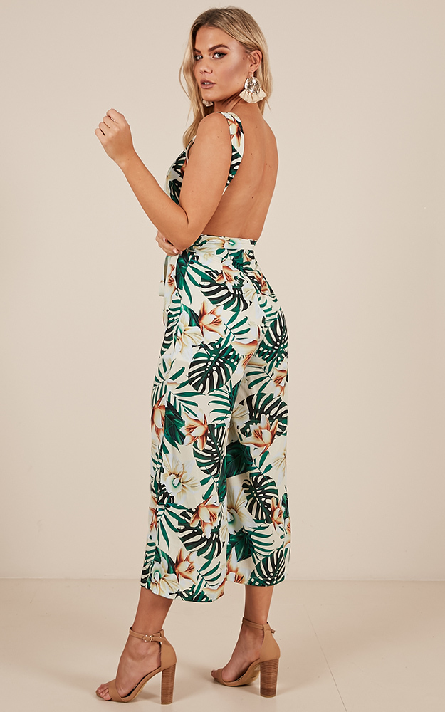 Taking Over jumpsuit in white print - 12 (L), White, hi-res image number null