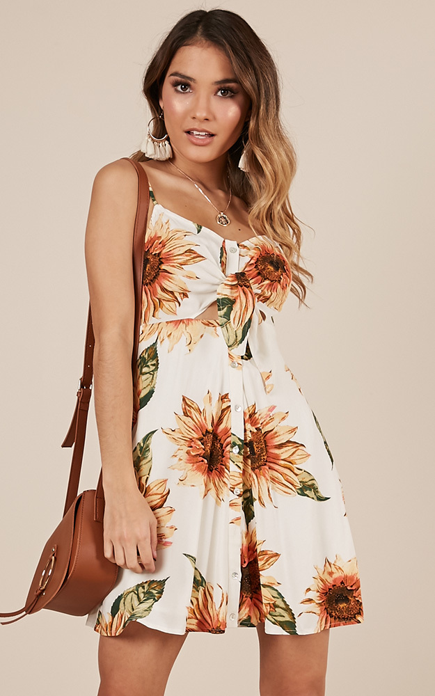 Feel the Sunshine dress in white floral - 12 (L), White, hi-res image number null