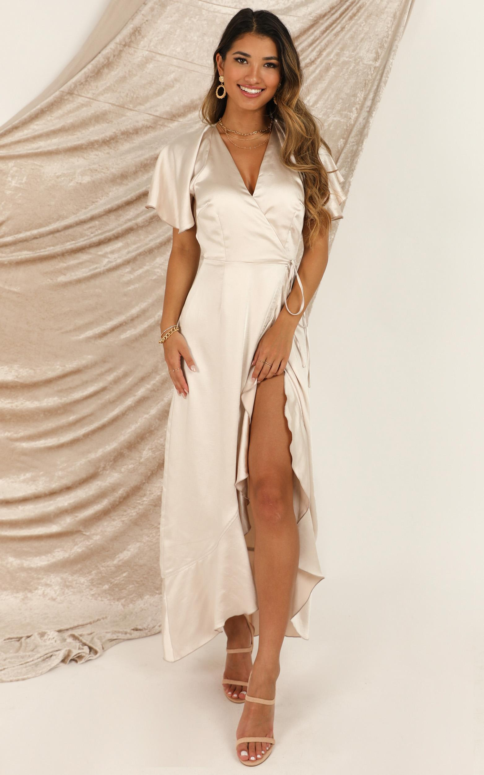 Wrap It Dress In champagne satin - 20 (XXXXL), Beige, hi-res image number null