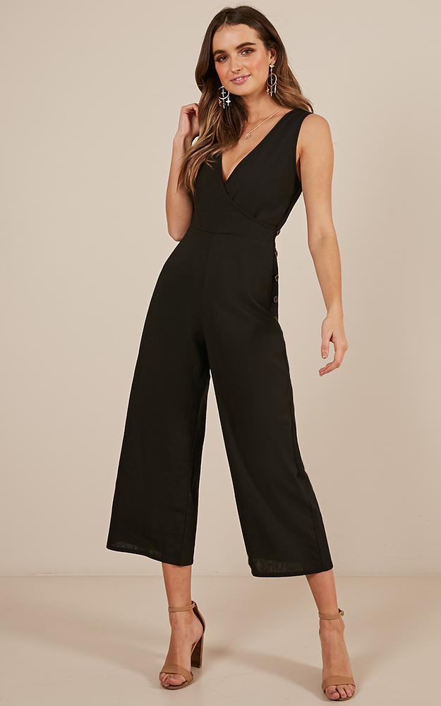 Clear as Crystal Jumpsuit in Black linen look - 12 (L), Black, hi-res image number null
