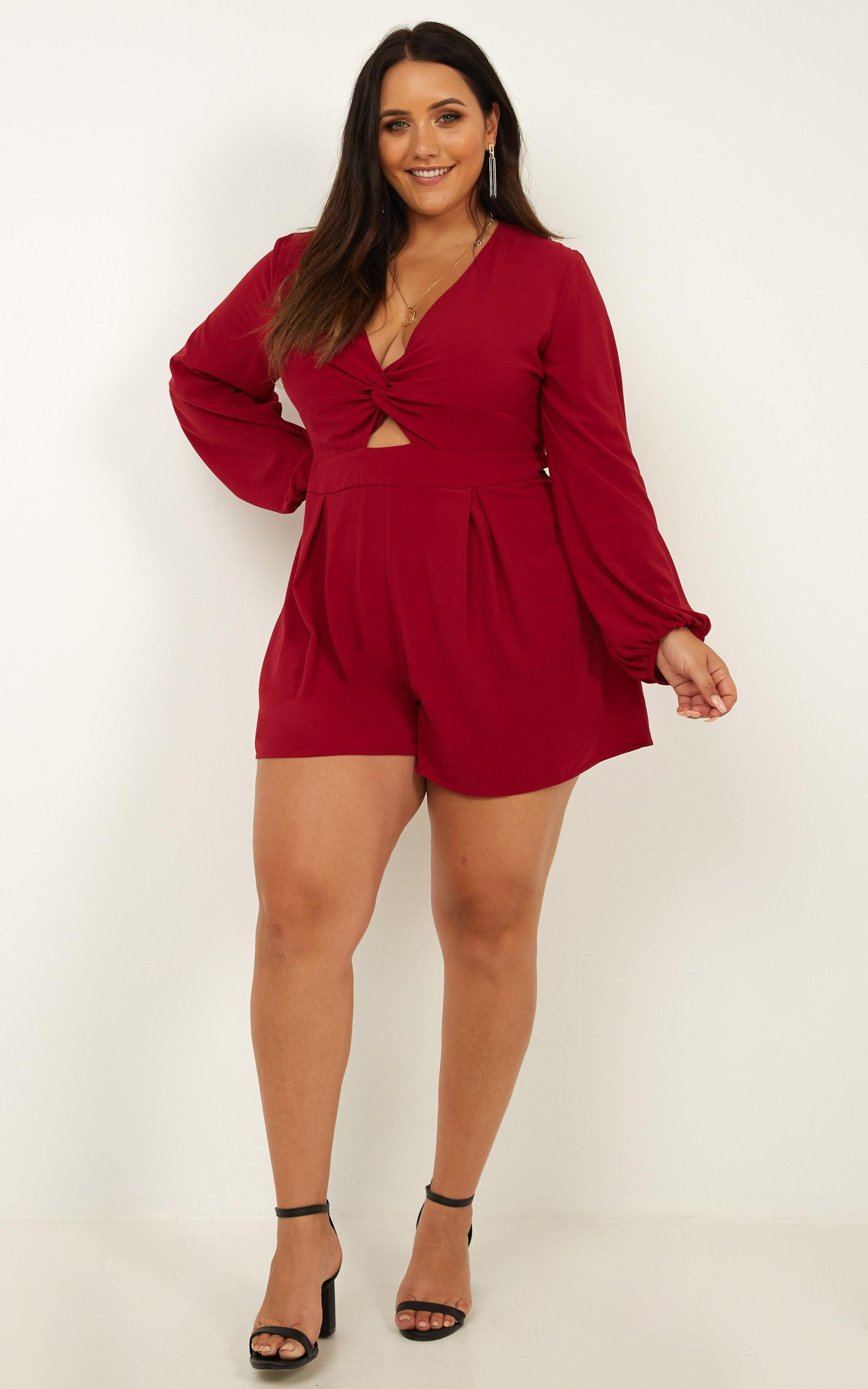 Tiny Dancer Playsuit In Wine - 4 (XXS), Wine, hi-res image number null