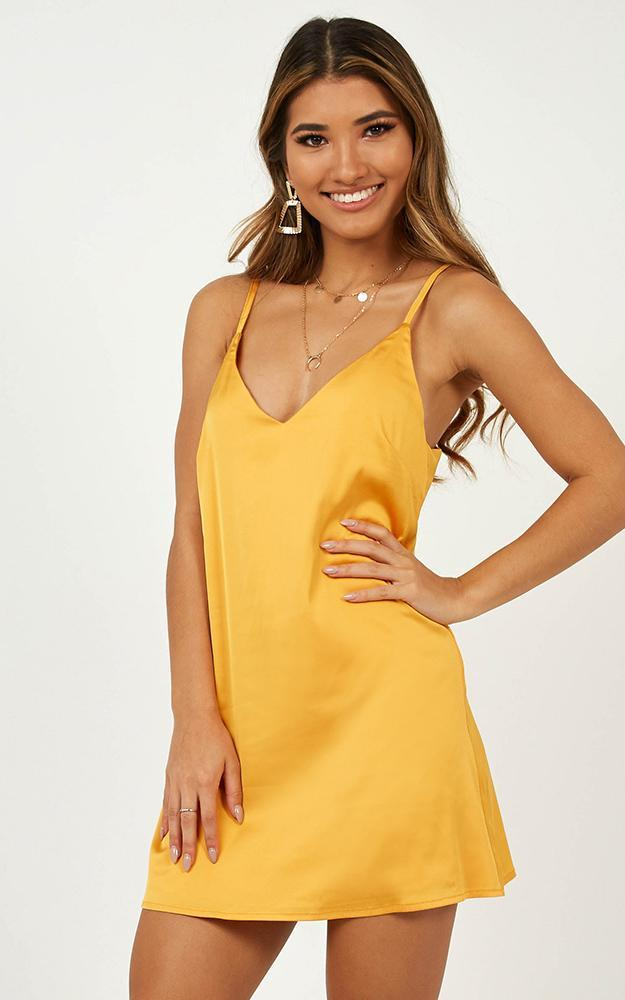 Little Miss Dress In Mango Satin - 14 (XL), Yellow, hi-res image number null