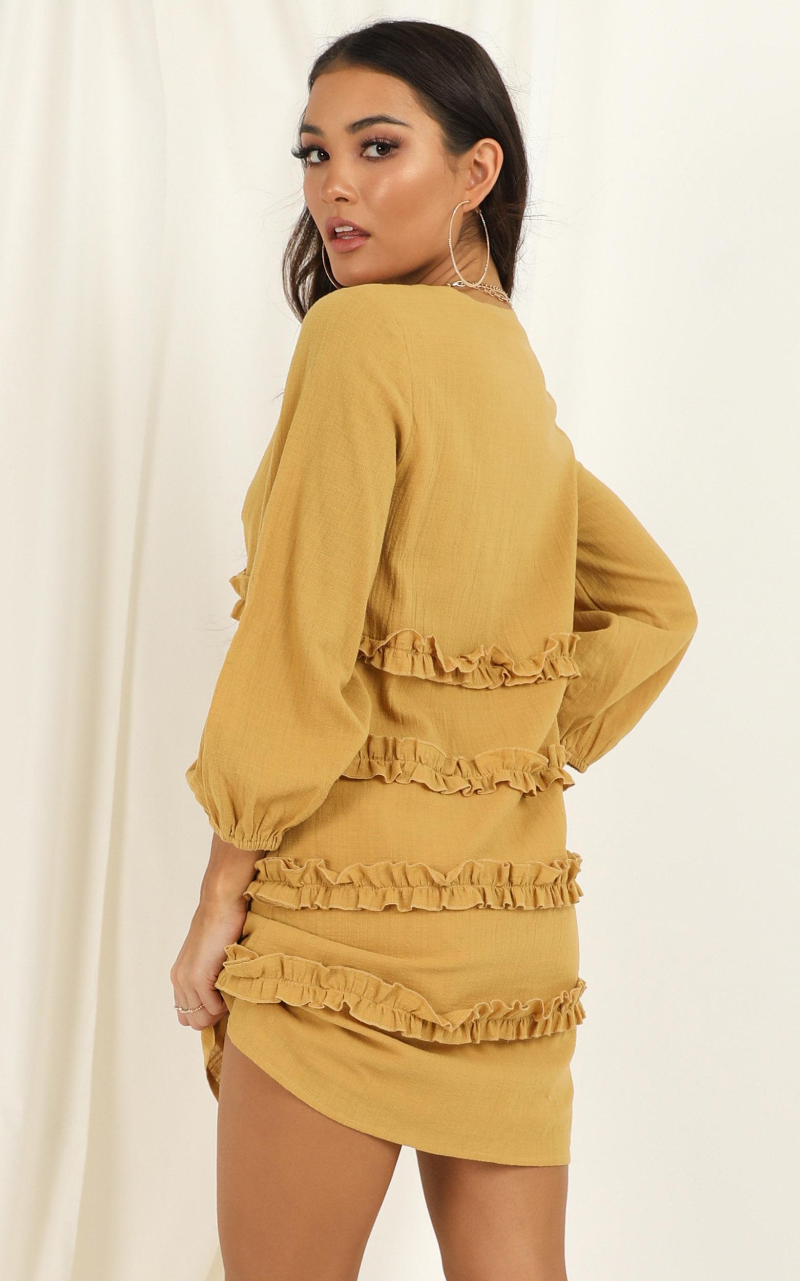 Sweetest Cheer Dress in mustard - 20 (XXXXL), Mustard, hi-res image number null