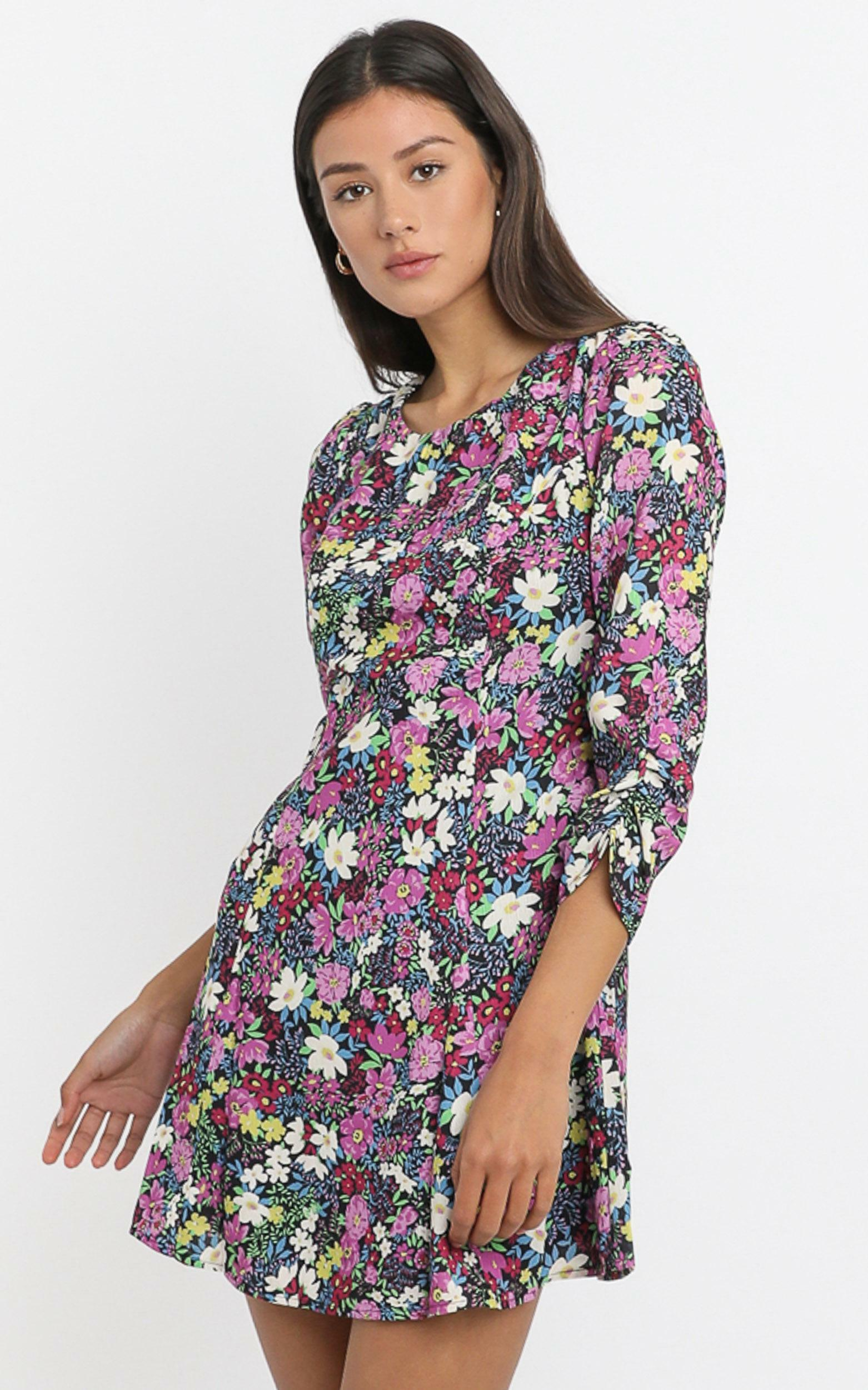 Nessi Mini Dress in forest floral - 6 (XS), Purple, hi-res image number null