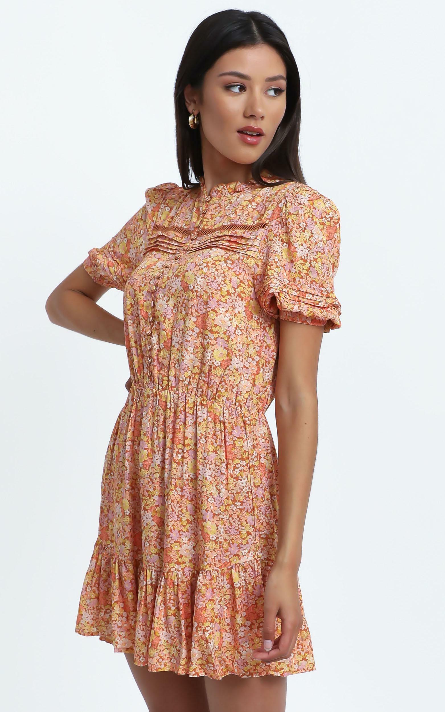 Mahalia Dress in Blushing Floral - 14 (XL), Orange, hi-res image number null