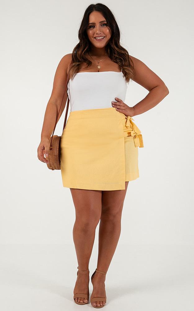 Beyond Luck Skirt in lemon linen look - 20 (XXXXL), Yellow, hi-res image number null