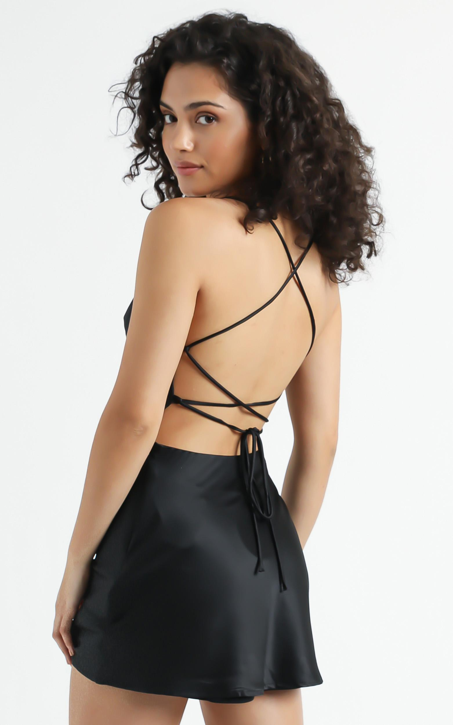 Before Your Time dress in black satin - 16 (XXL), Black, hi-res image number null