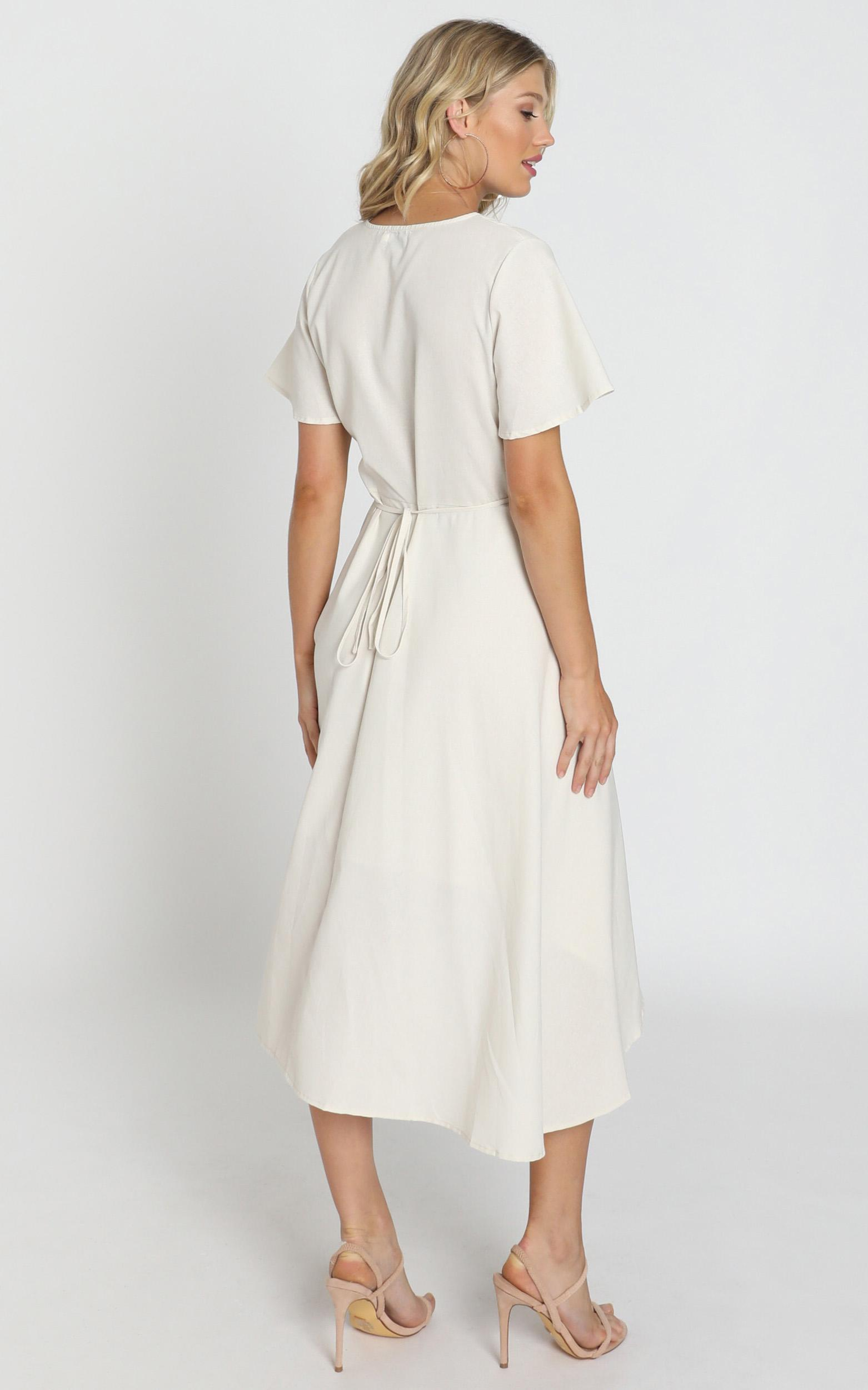 Fresh Look Wrap Maxi Dress in beige linen - 8 (S), Beige, hi-res image number null