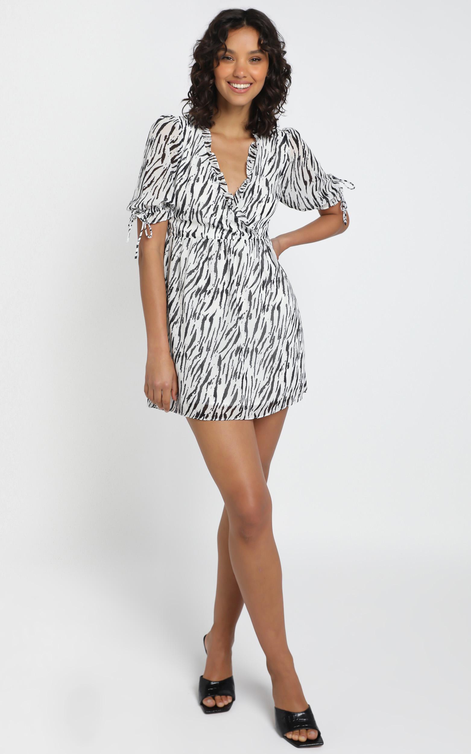 Sheena Dress in Zebra Print - 12 (L), WHT1, hi-res image number null