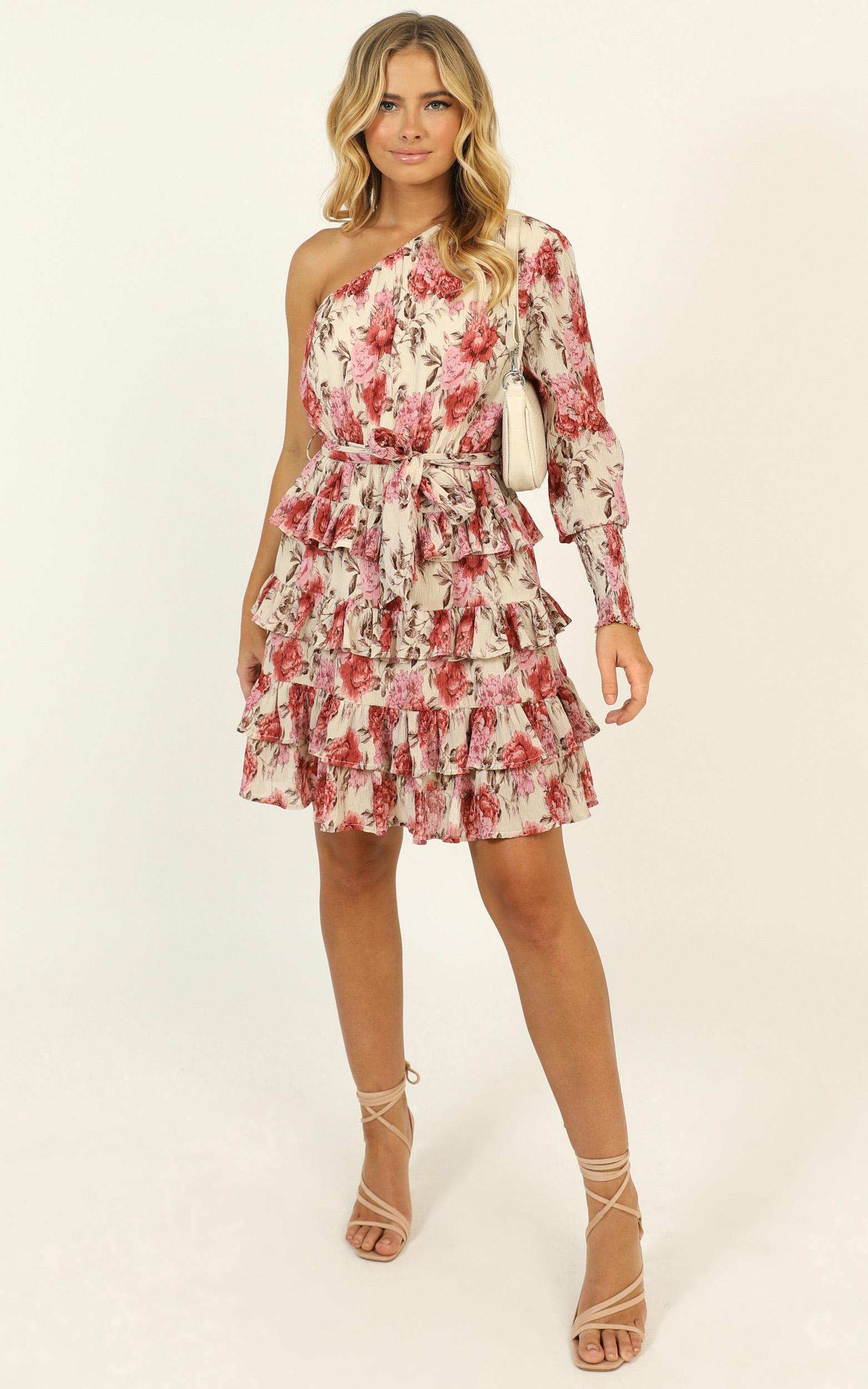 Mckenzie Mini Dress in rose floral - 14 (XL), Pink, hi-res image number null