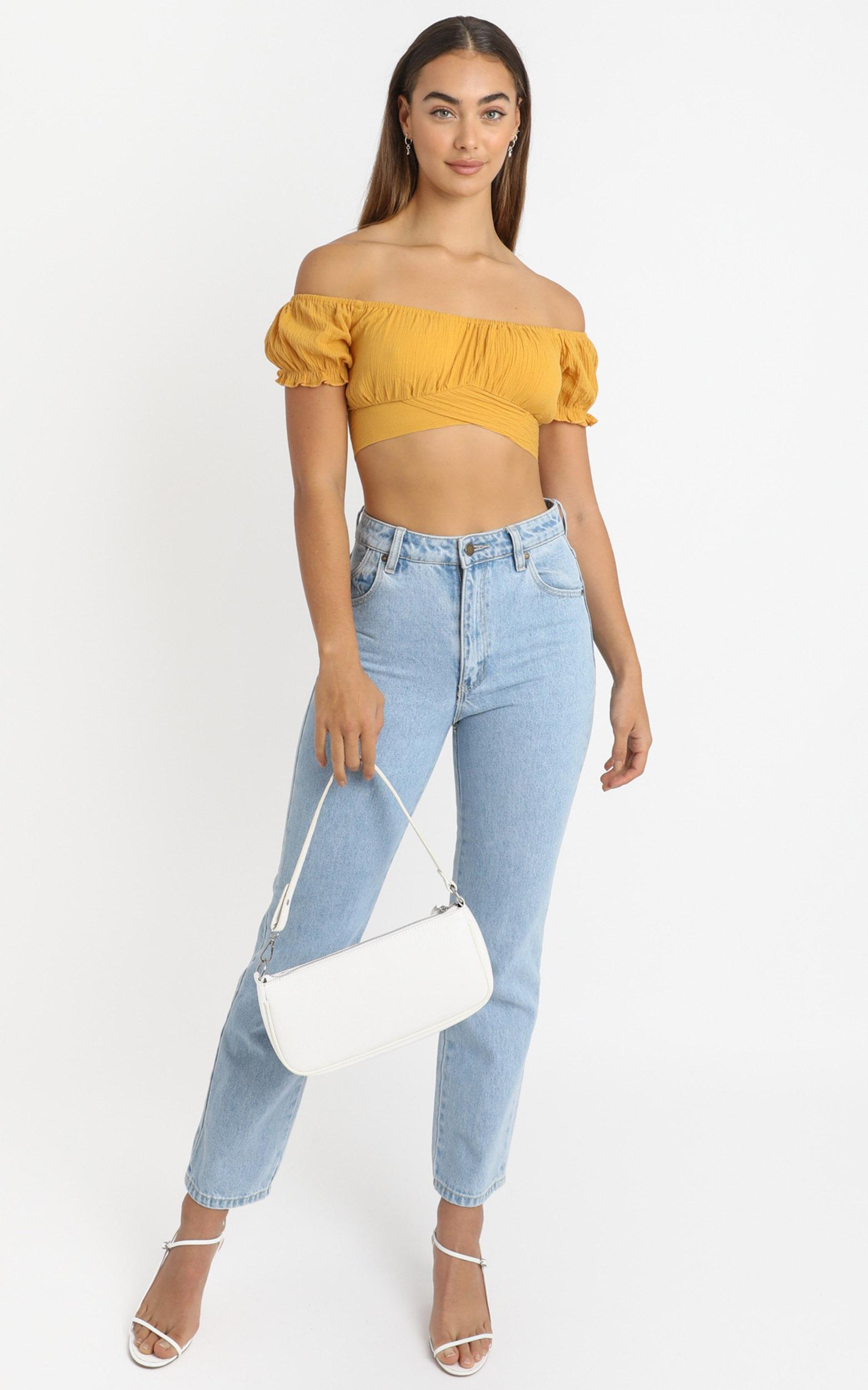 I Know You Top in mustard linen look - 6 (XS), Yellow, hi-res image number null