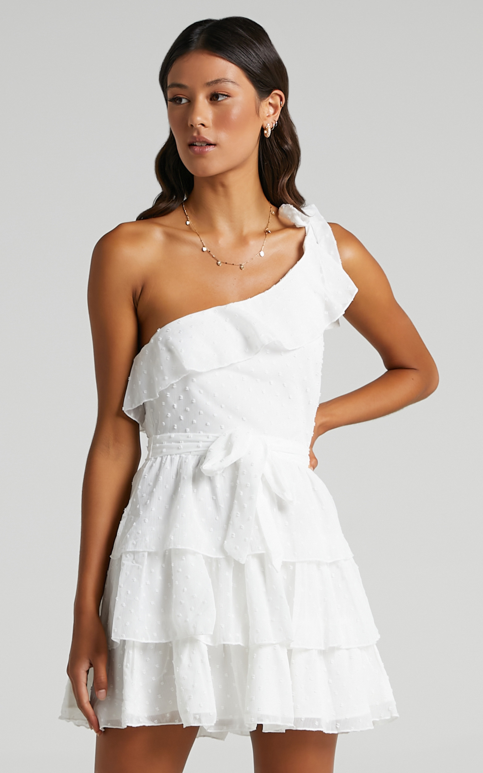 Darling I Am A Daydream One Shoulder Ruffle Mini Dress in White - 20, WHT7, hi-res image number null