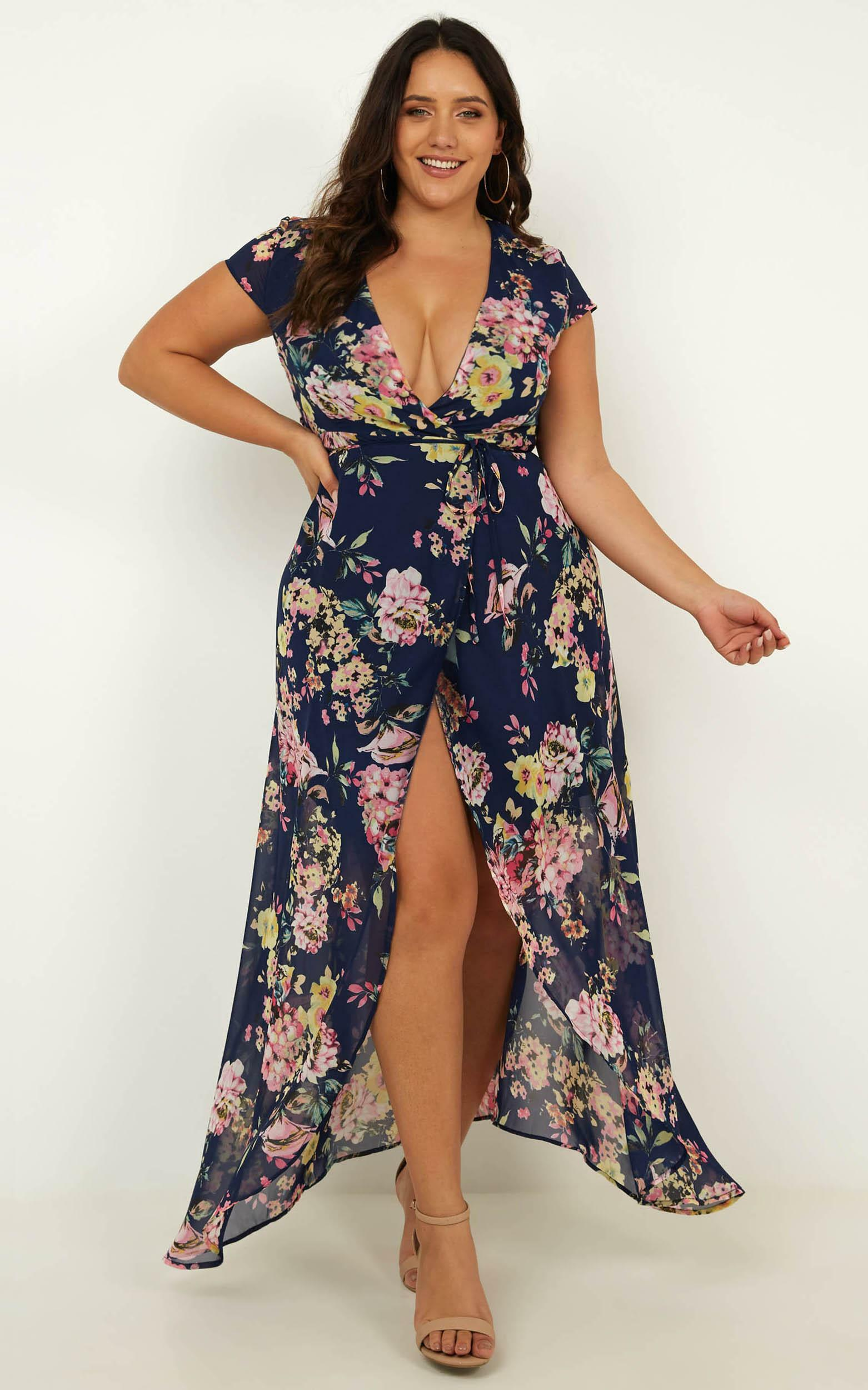 Wrap And Cross Maxi Dress in Navy Floral - 6 (XS), NVY1, hi-res image number null