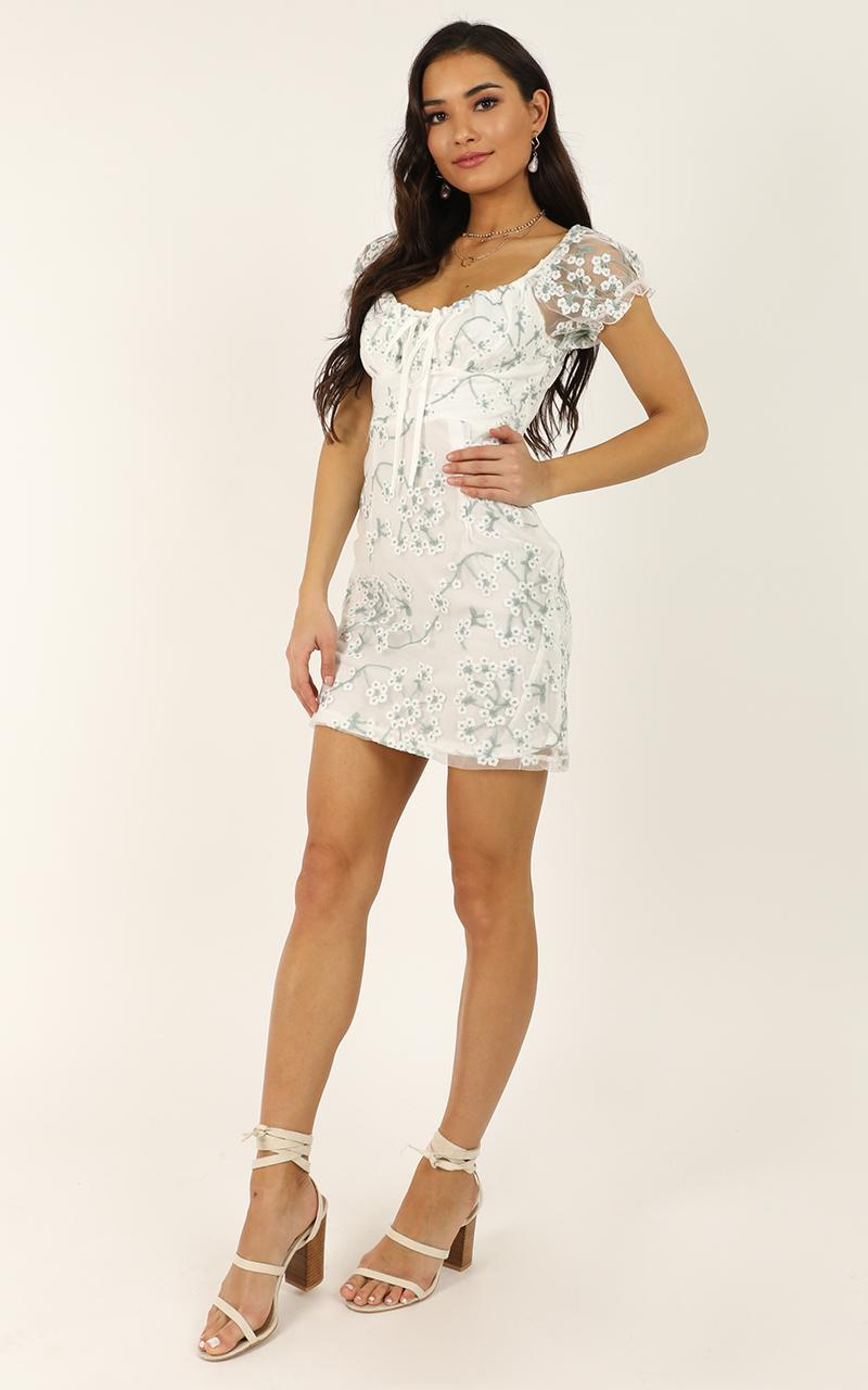Answer My Call dress in white floral - 12 (L), White, hi-res image number null