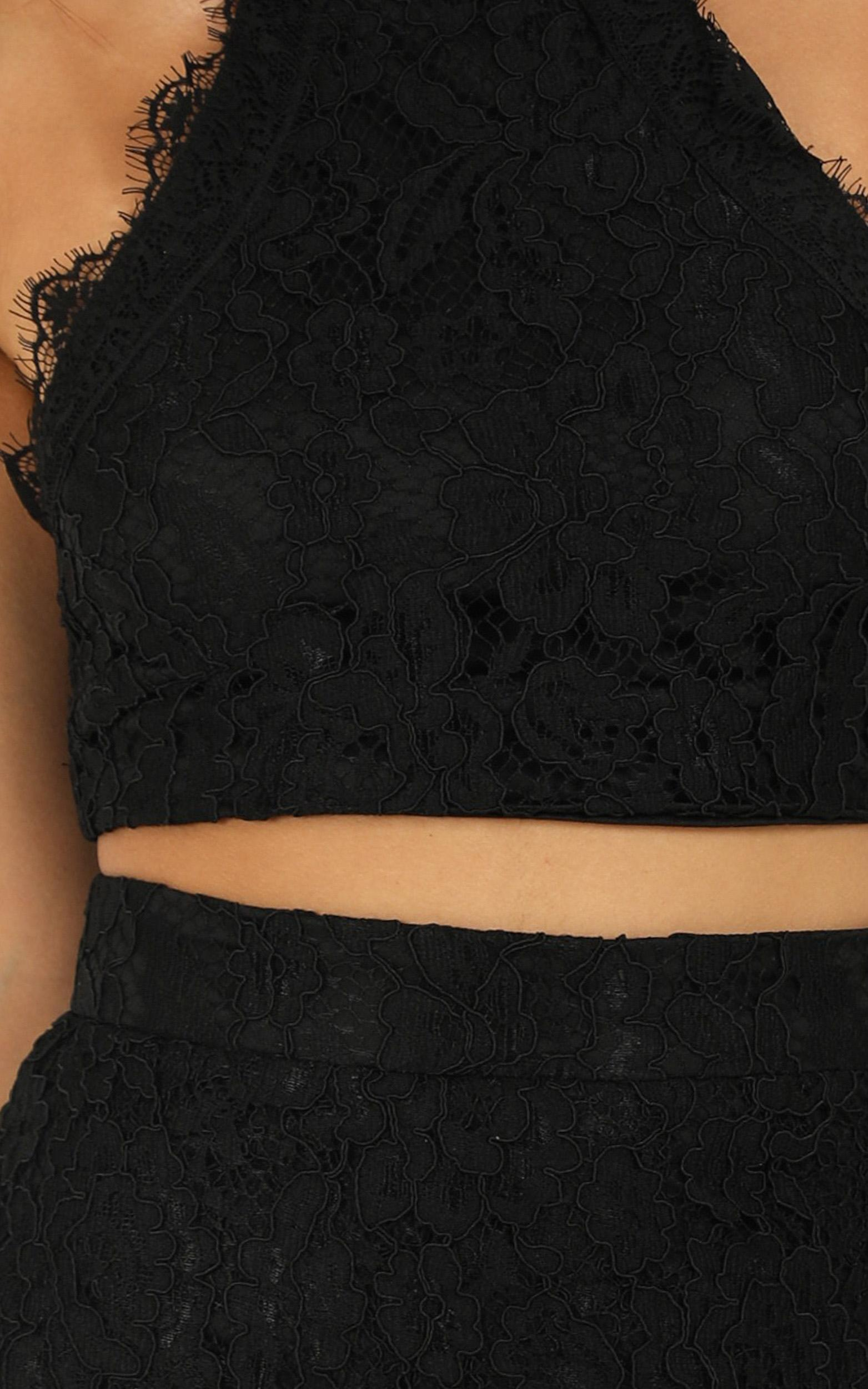 I Own My Heart in Two Piece Set in black lace - 18 (XXXL), Black, hi-res image number null