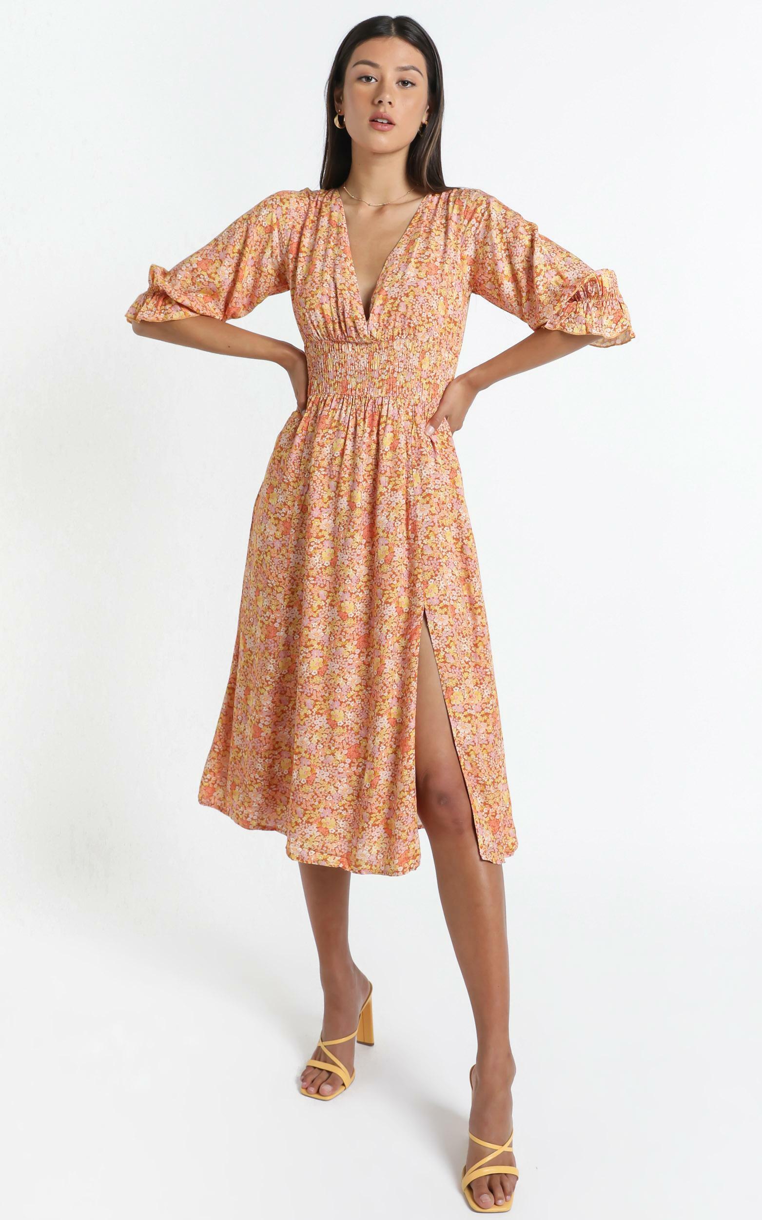 Milan Dress in Blushing Floral - 14 (XL), Orange, hi-res image number null