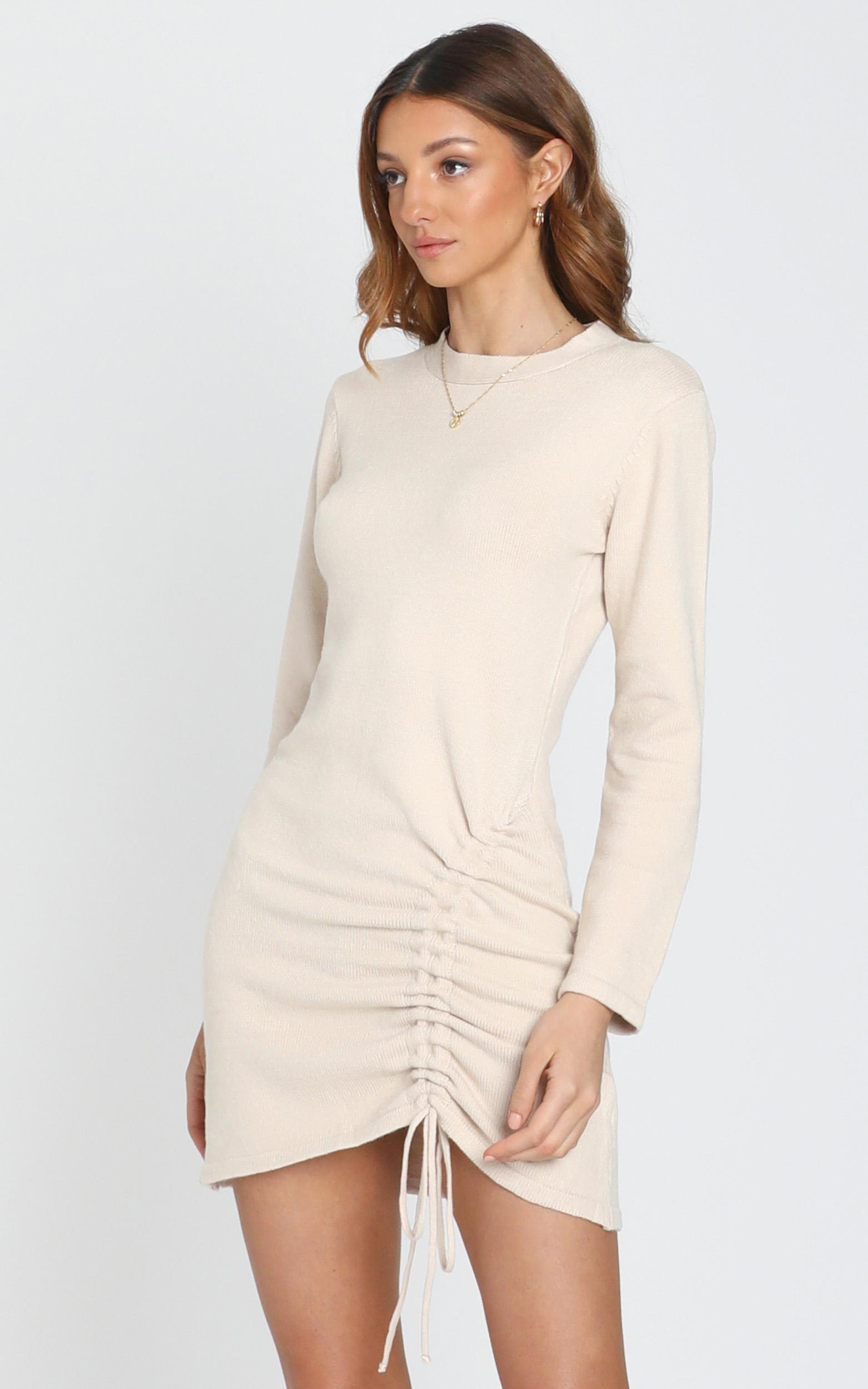 Casual Luxe Knit Dress in  Beige - S, Beige, hi-res image number null