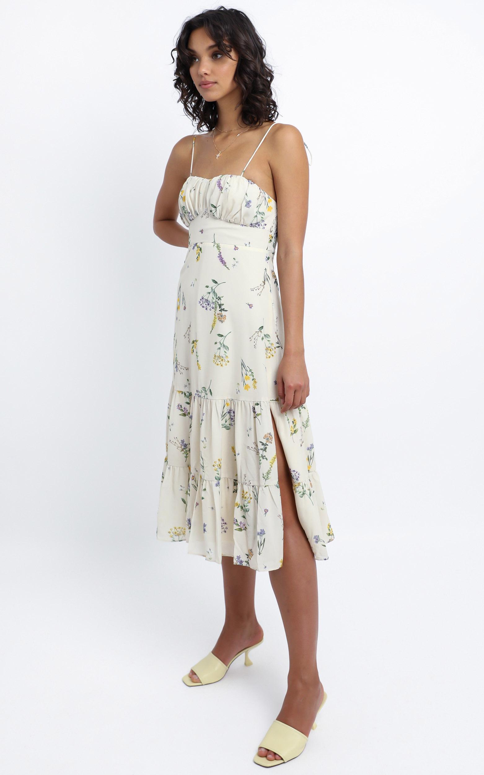Monaco Dress in botanical floral - 4 (XXS), Cream, hi-res image number null