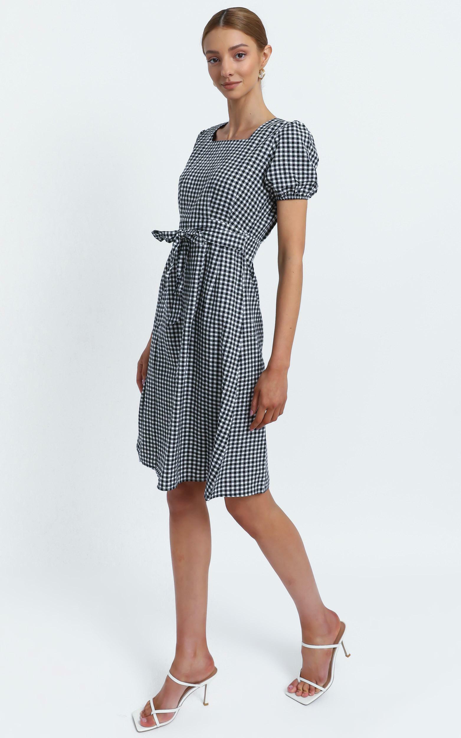 Desiree Dress in Black Check - 12 (L), Black, hi-res image number null