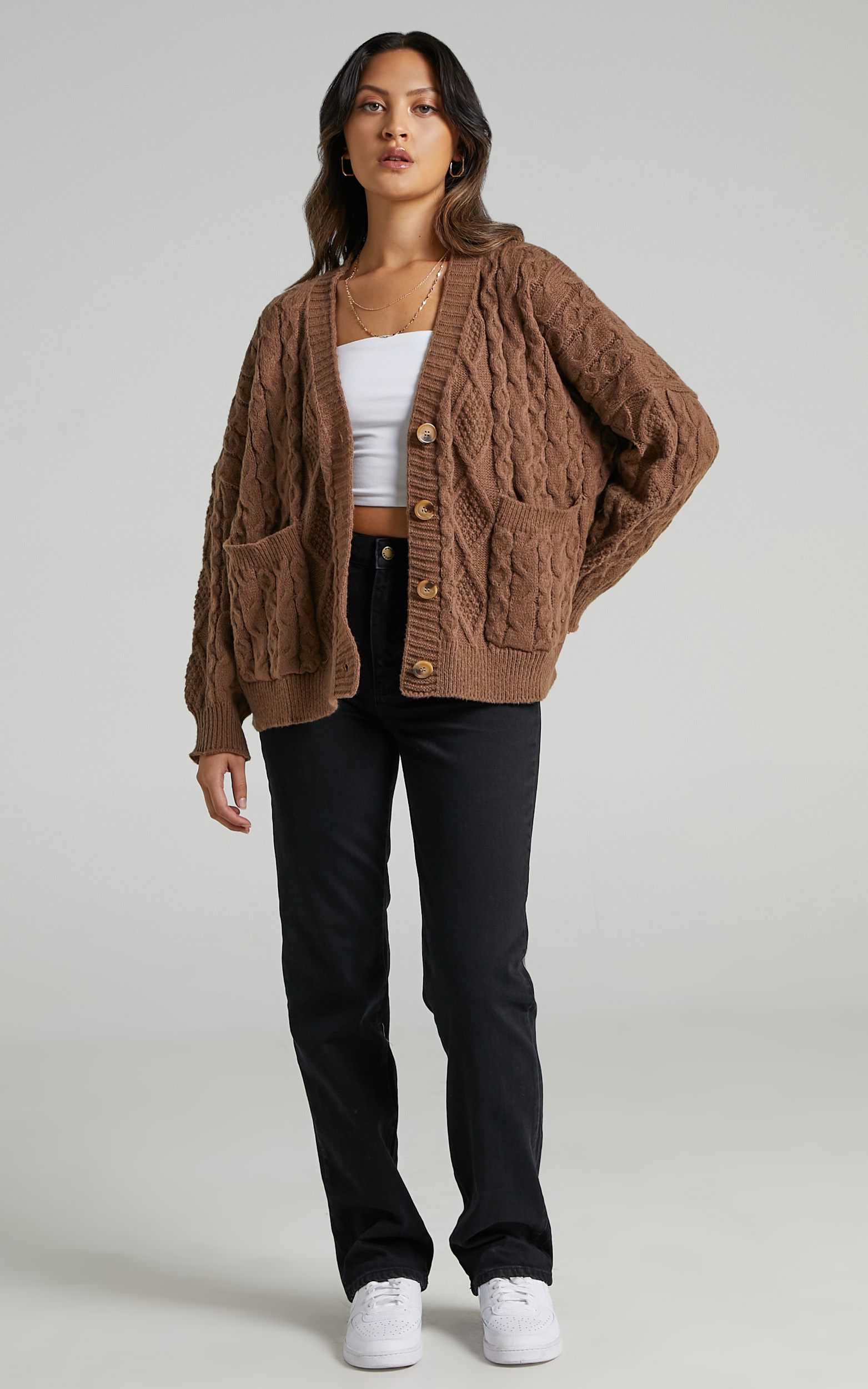 Betty Button Up Cable Knit Cardigan in Chocolate - L, BRN1, hi-res image number null