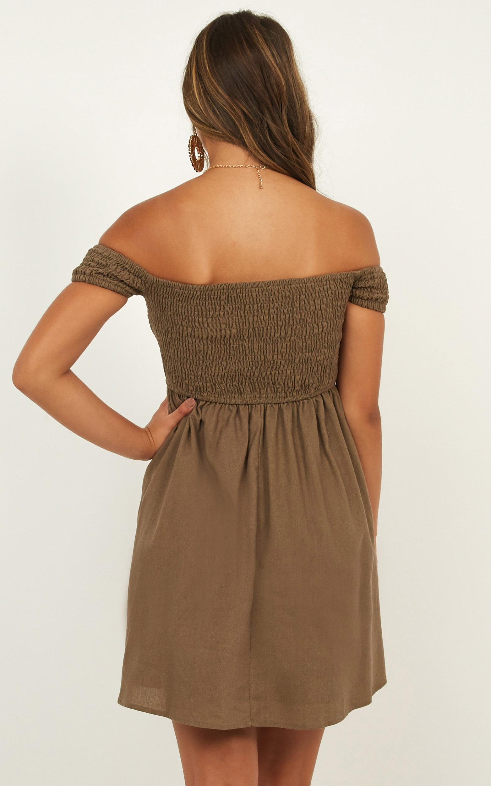 Cooler Than her Dress in khaki linen look - 14 (XL), Khaki, hi-res image number null